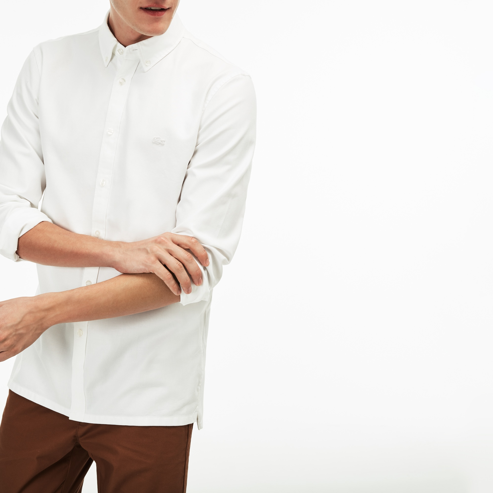 Lacoste MOTION-shirt heren slim fit katoenpiqué