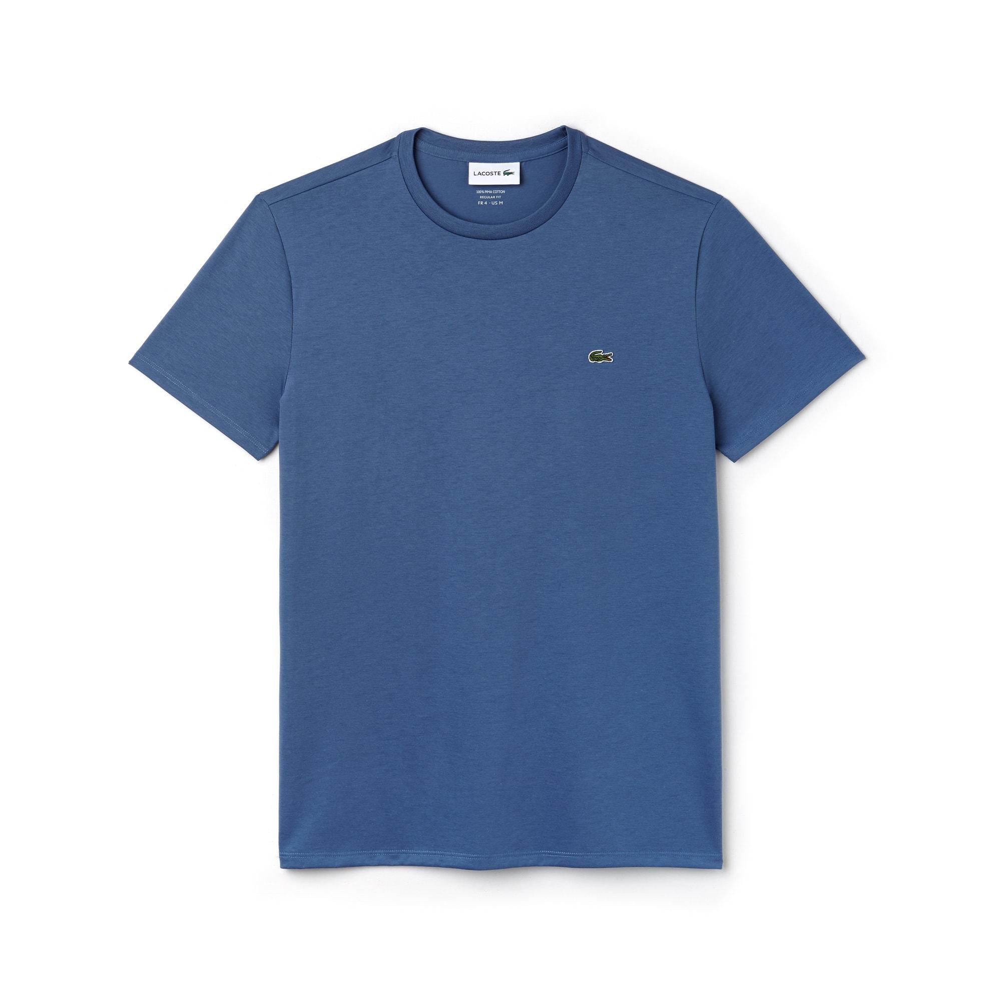 T-shirt met ronde hals van effen pima katoenjersey