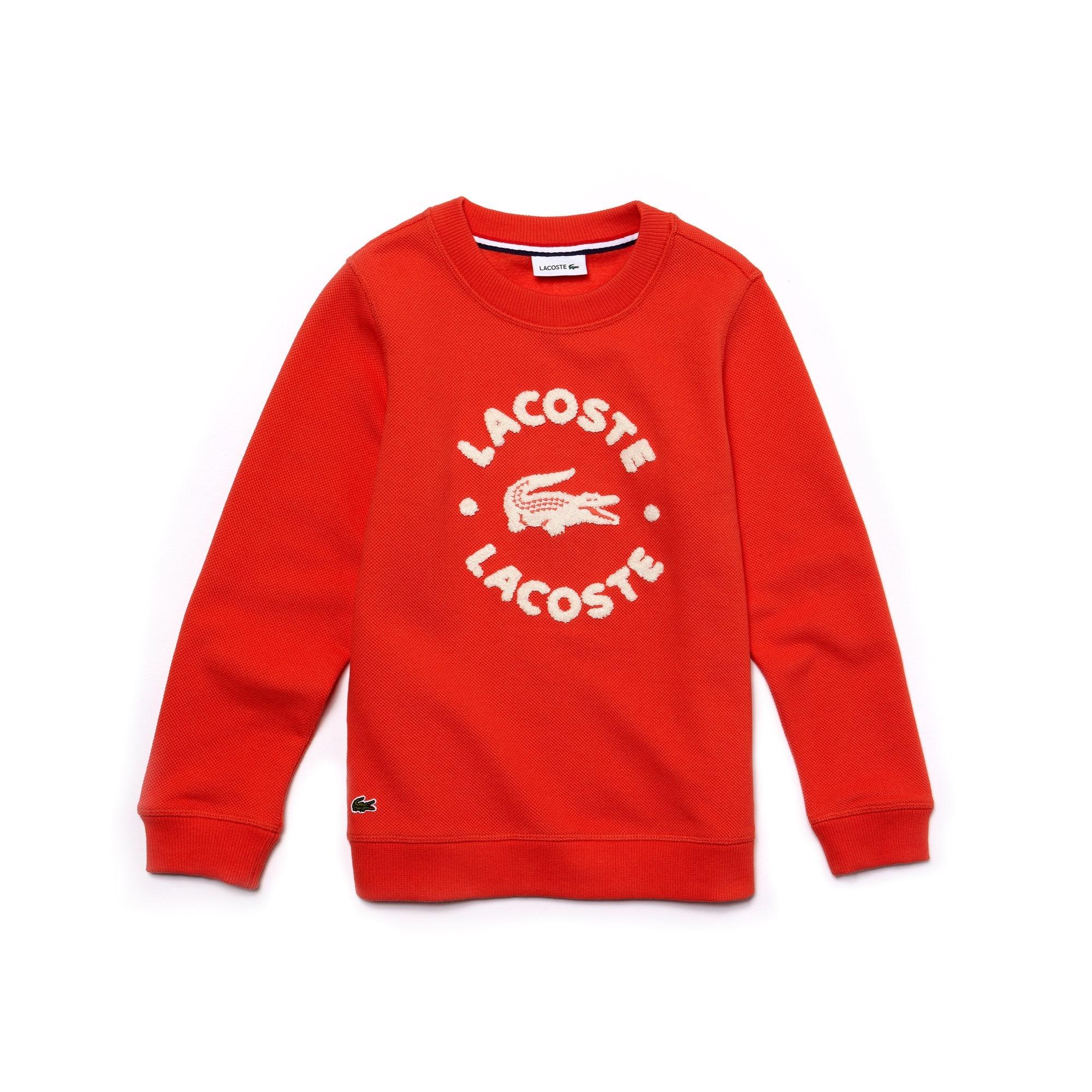 Sweatshirt jongens fleece met ronde hals en Lacoste-letters