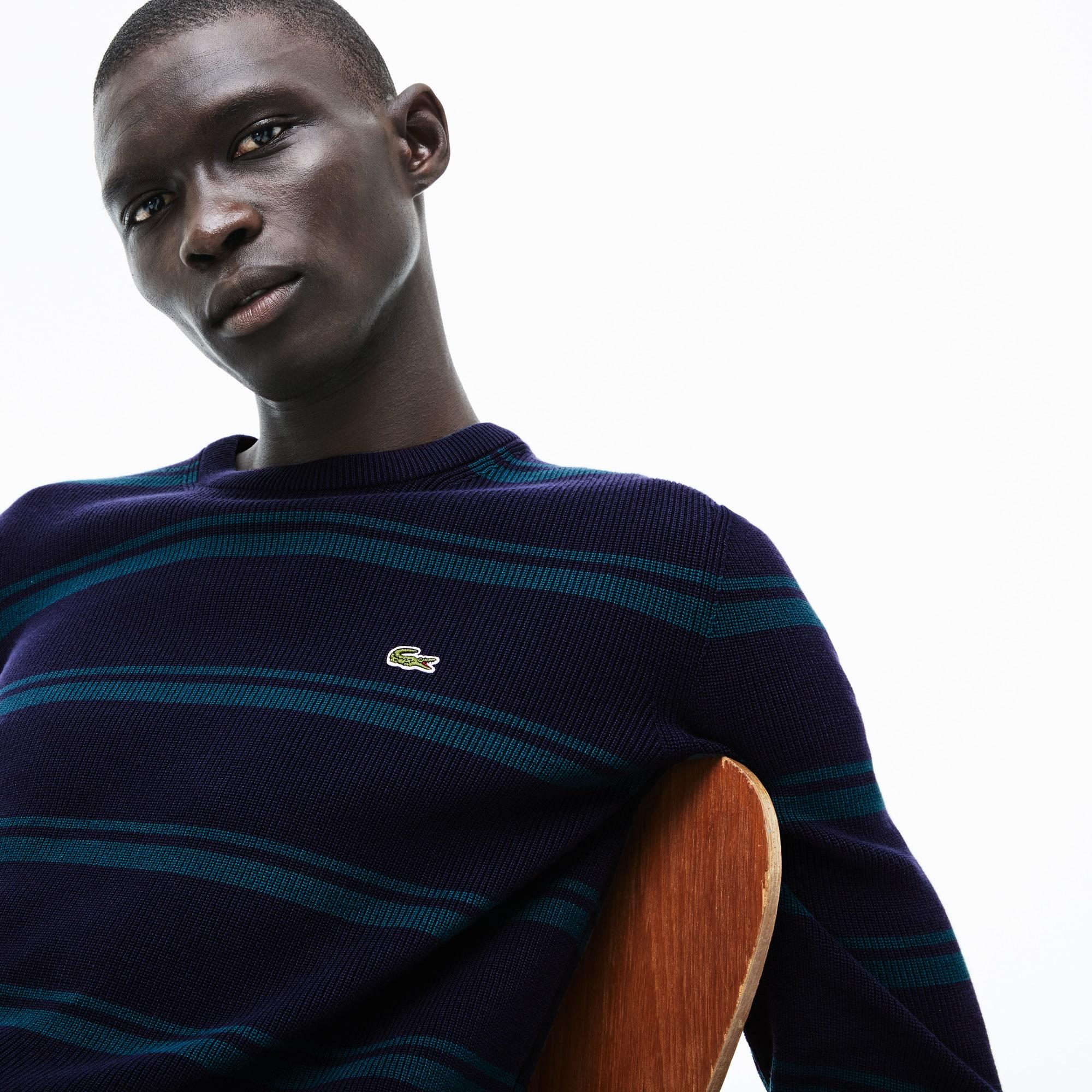 Sweater heren ronde hals geribd katoen met strepen