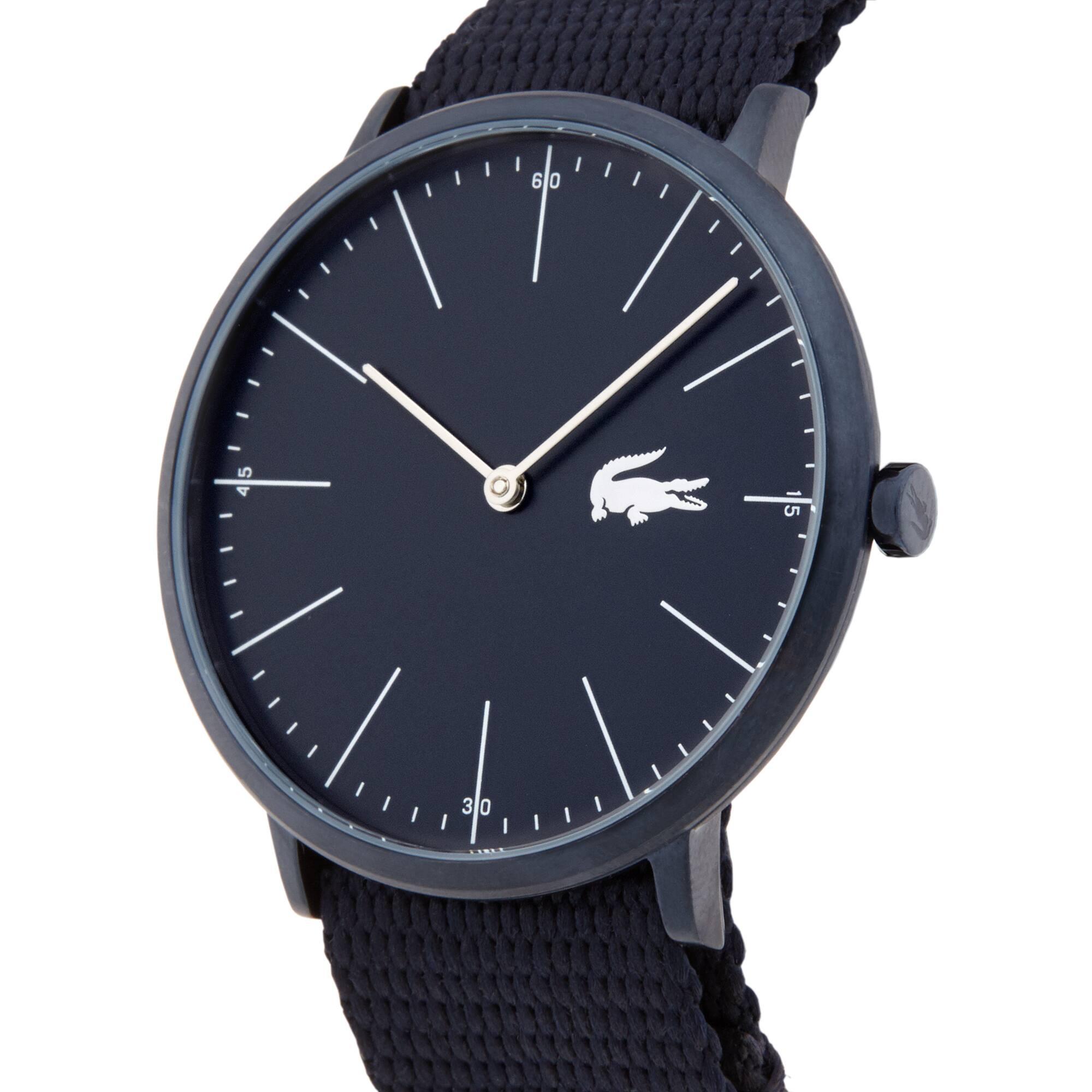 Men Moon Horloge met Schwarzen Textiel Armband
