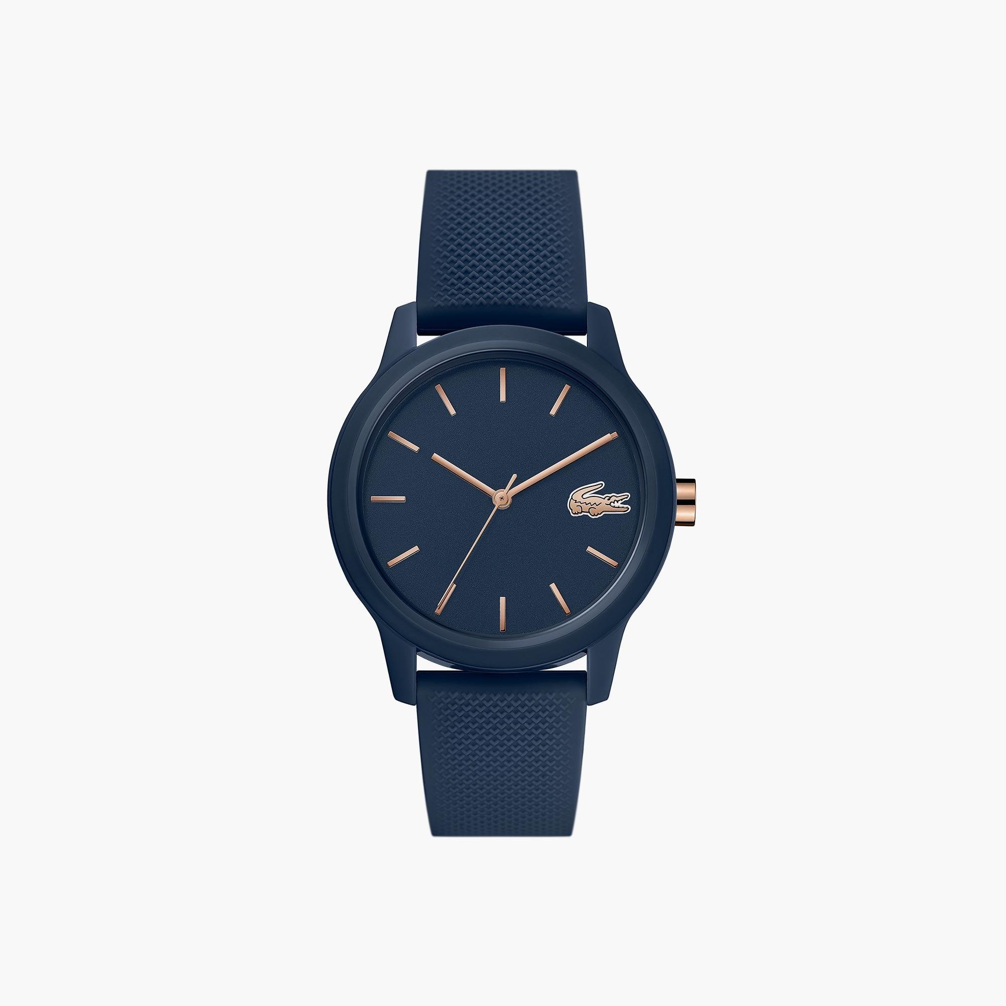 22cdef4d083 Horloge Lacoste.12.12 dames met marineblauwe siliconenband met petit piqué