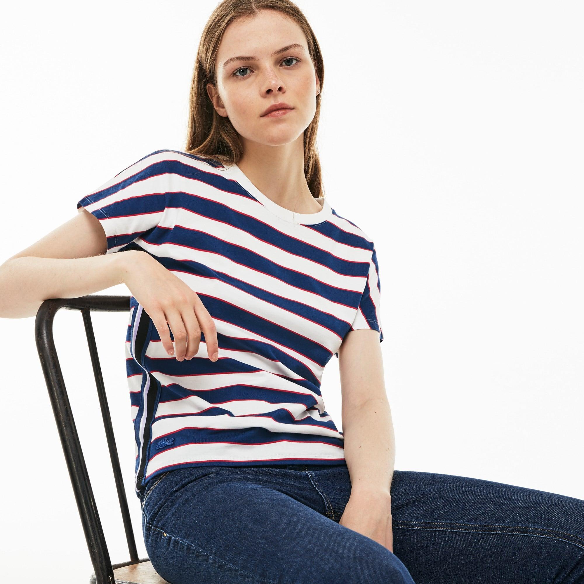 T-shirt dames ronde hals katoenjersey met colorblock-strepen