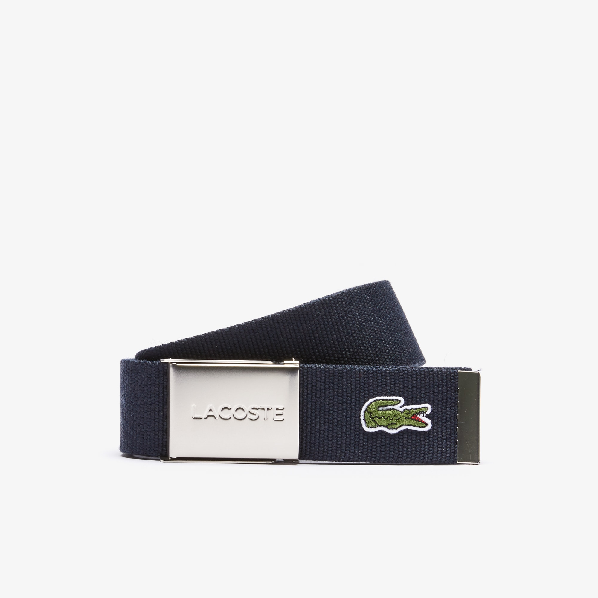 Geweven riem, Made in France-editie, platte gesp met Lacoste-gravering