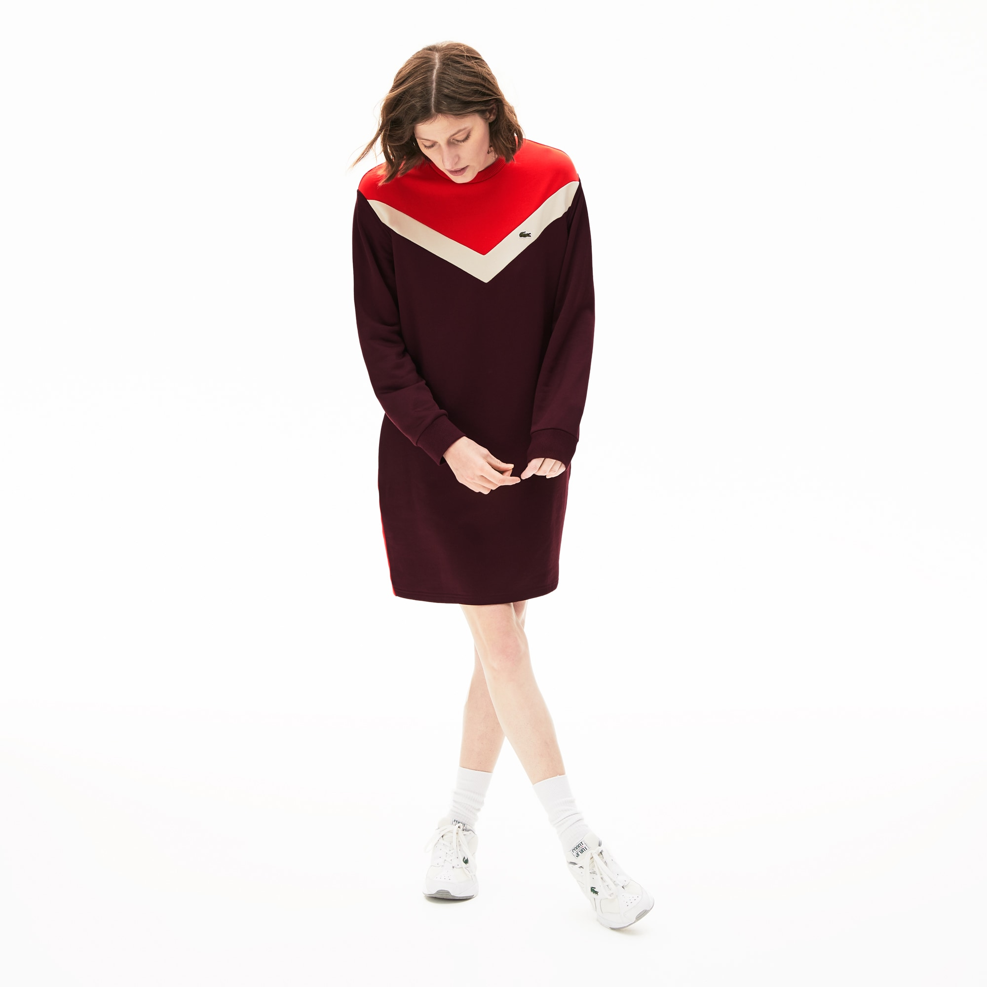 Sweatshirtjurk dames colorblock van fleece