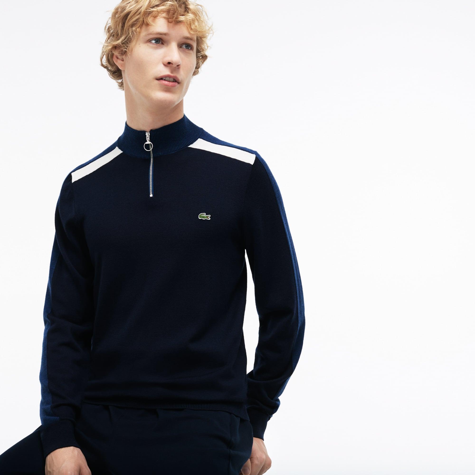Sweater heren Made in France ritshals colorblock stroken jersey