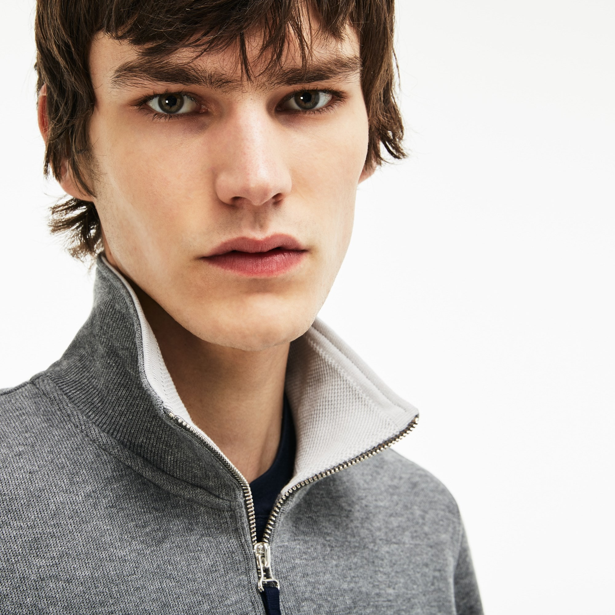 Sweatshirt heren opstaande kraag geribbelde interlock met rits