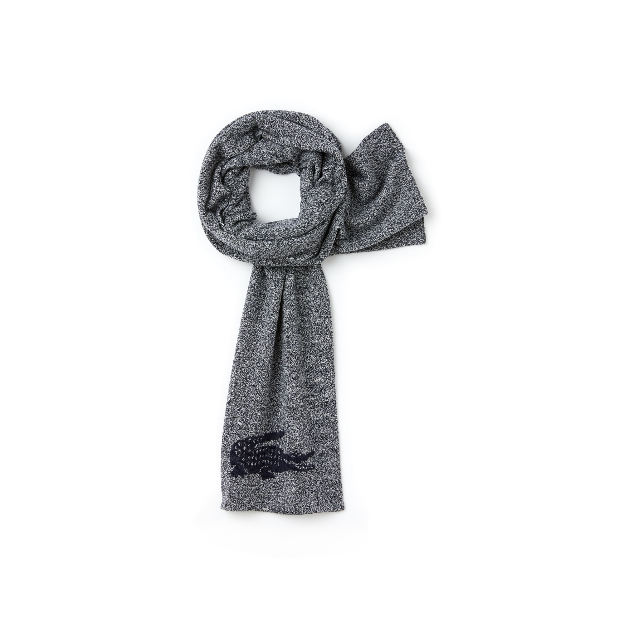 Men's Jacquard Crocodile Wool Scarf