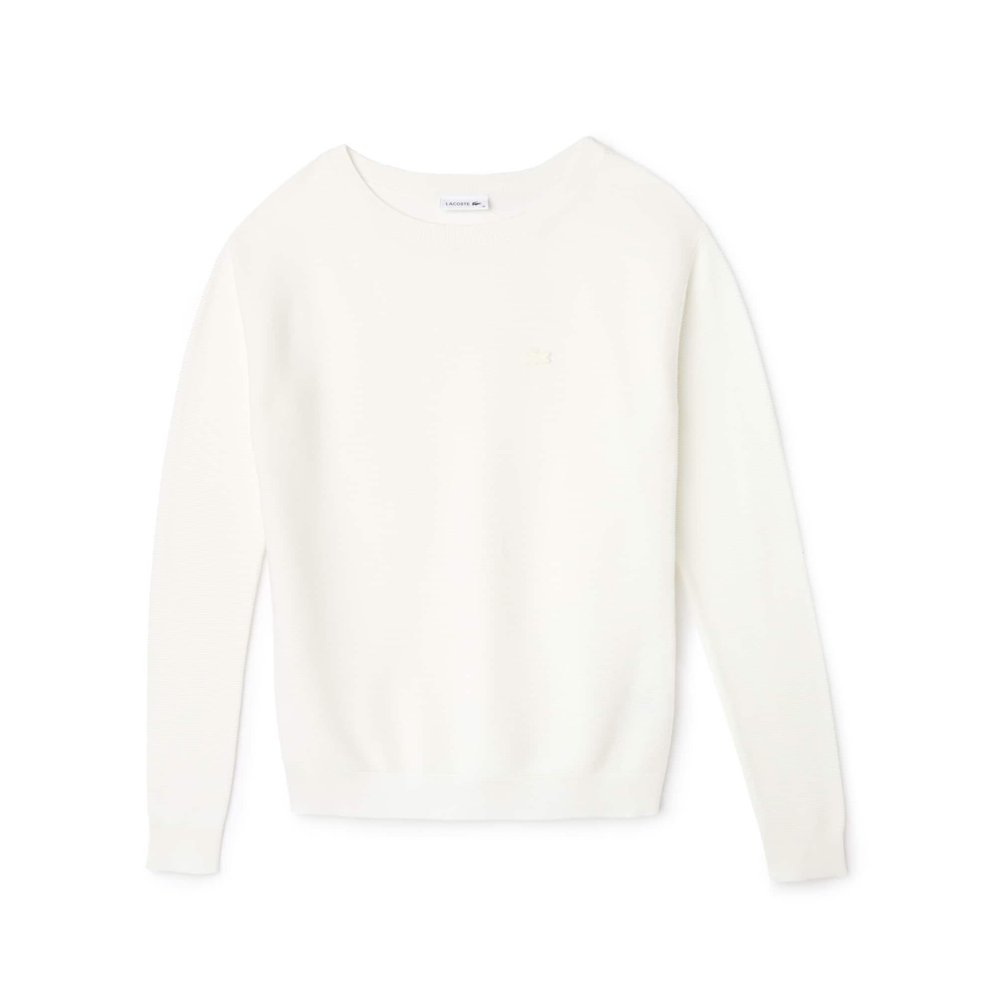 Sweater dames gerstekorrel-katoen met boothals