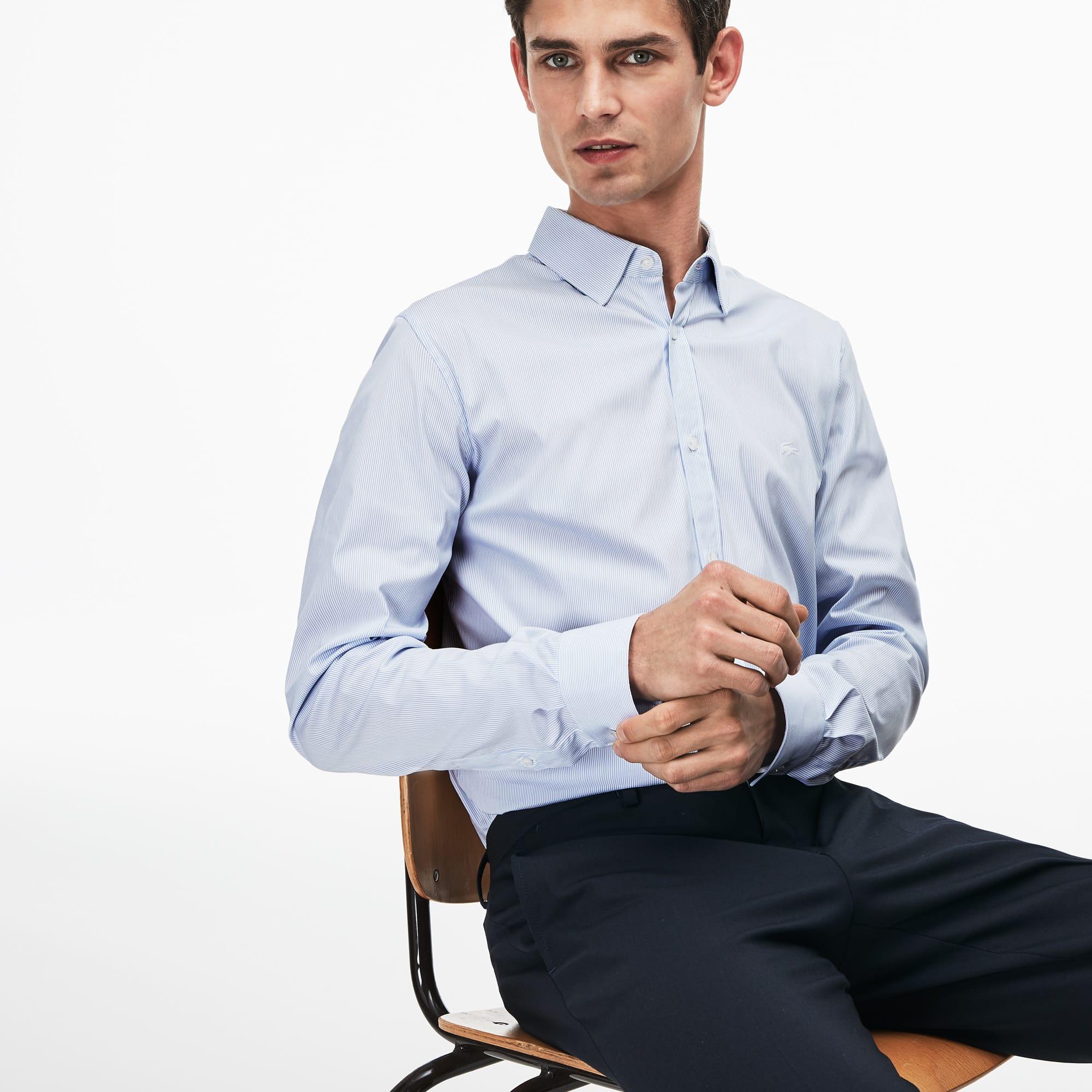 Shirt heren slim fit gestreept katoenpopeline met stretch