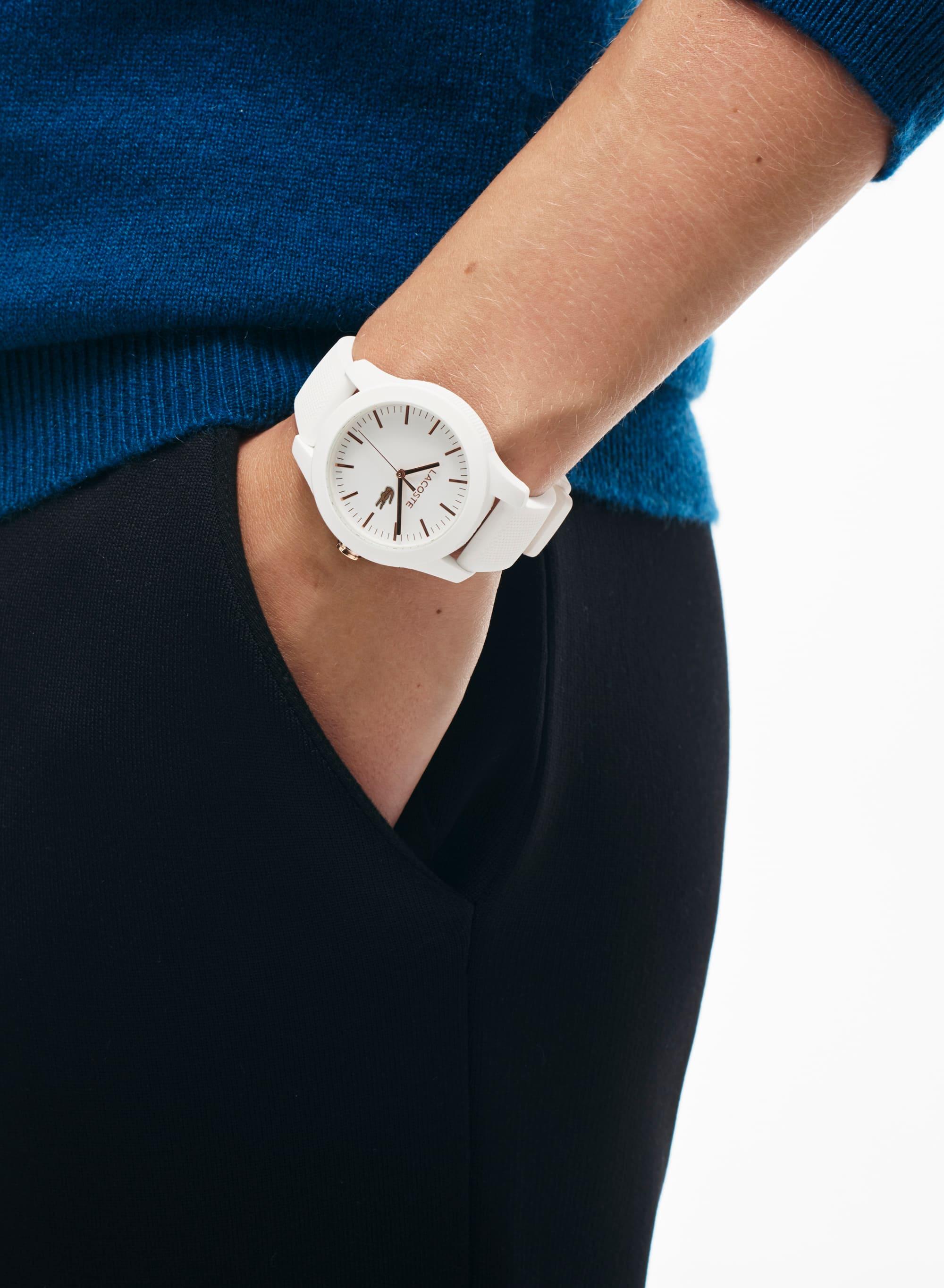 Lacoste 12.12 Horloge voor vrouwen, wit, wijzers van goud plaqué