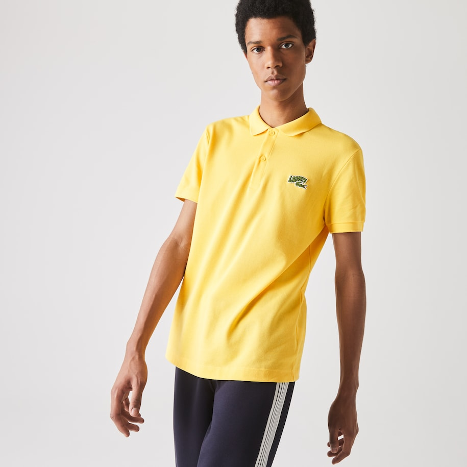 Lacoste-polo heren regular fit katoenpiqué met geborduurde badge