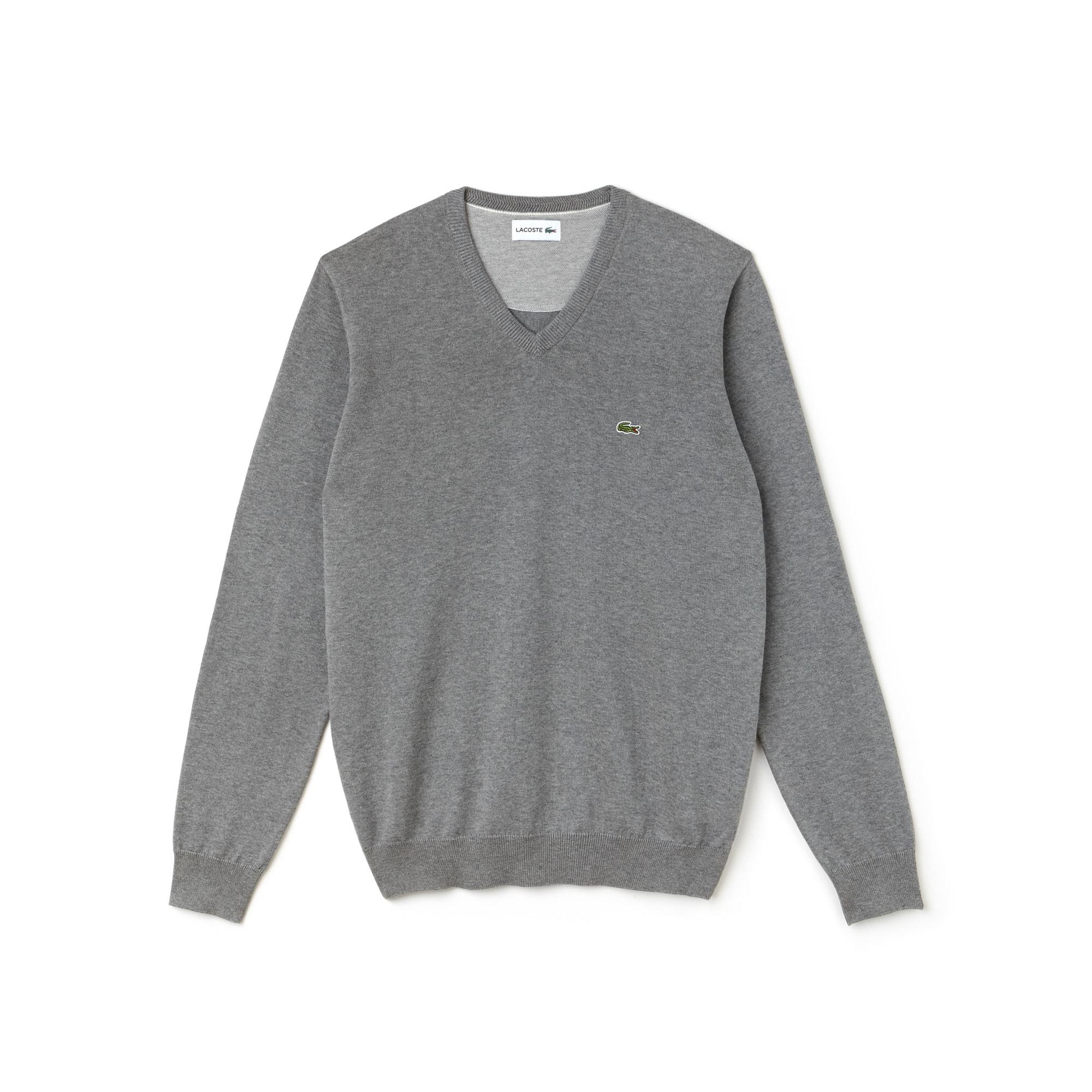 Sweatshirt heren V-hals katoenjersey met caviar piqué-accenten