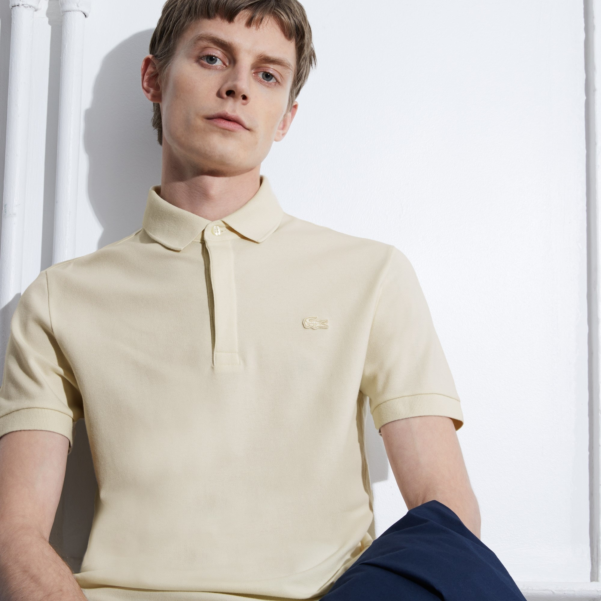 Paris Edition Lacoste polo heren regular fit gestreepte katoenpiqué