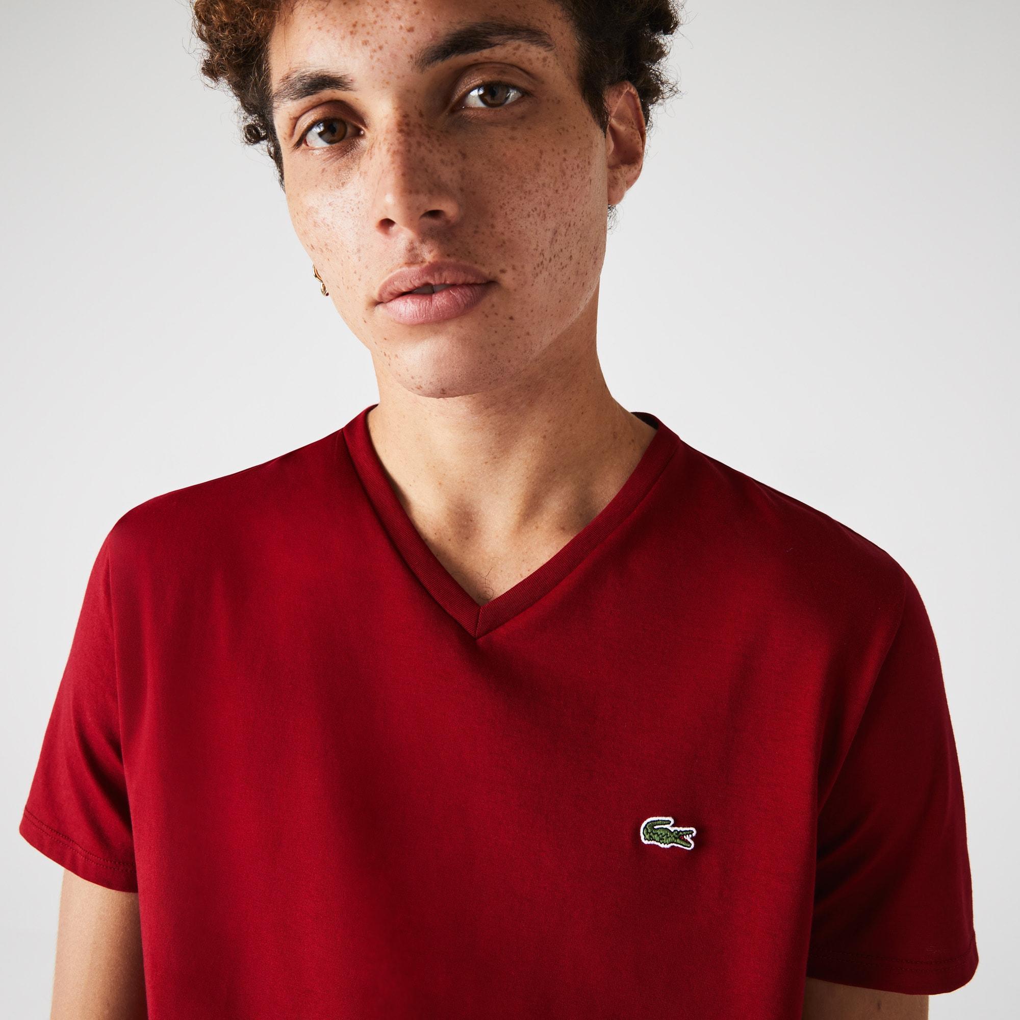 T-shirt met V-hals van effen pima katoenjersey