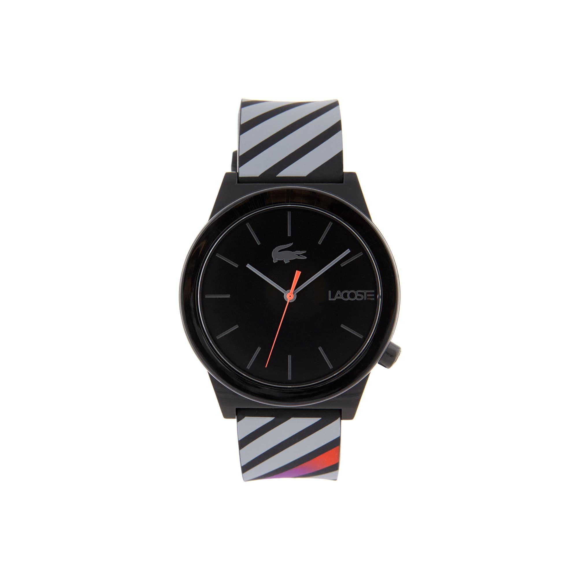 Men Motion Horloge met Schwarzen Siliconen Armband