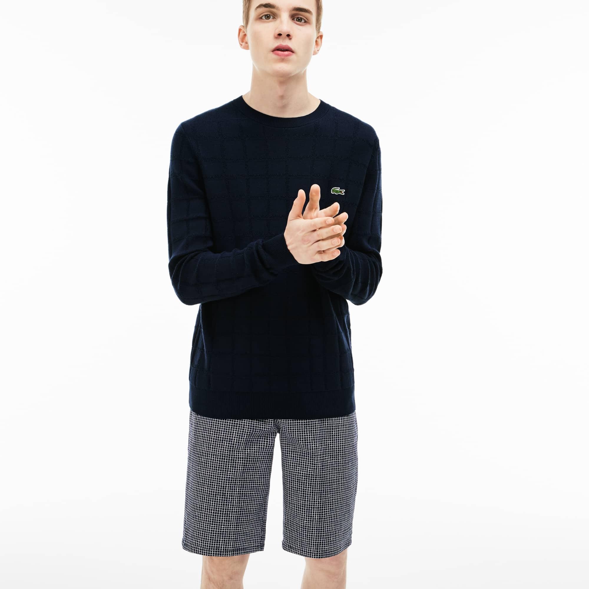 Lacoste LIVE-sweater heren ronde hals jacquard met miniruitjes