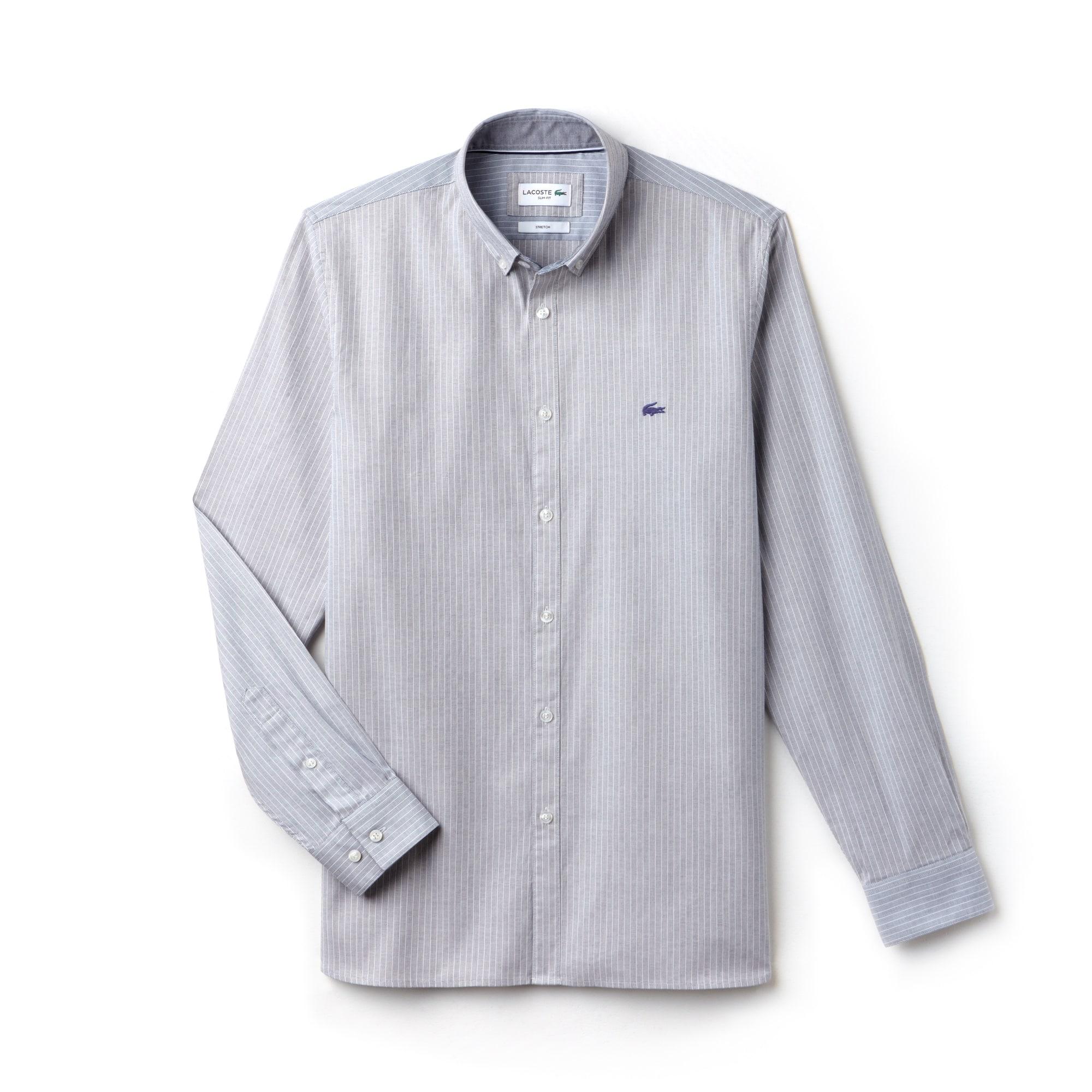Shirt heren Slim Fit gestreept pinpointkatoen met stretch