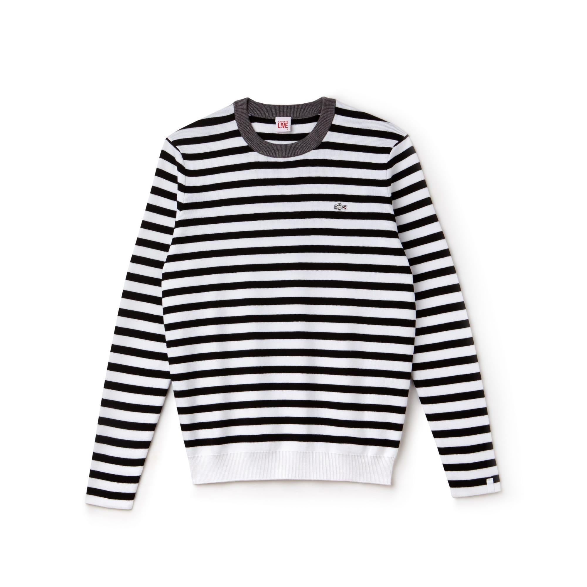 Lacoste LIVE-sweater dames gestreept katoenjersey met ronde hals