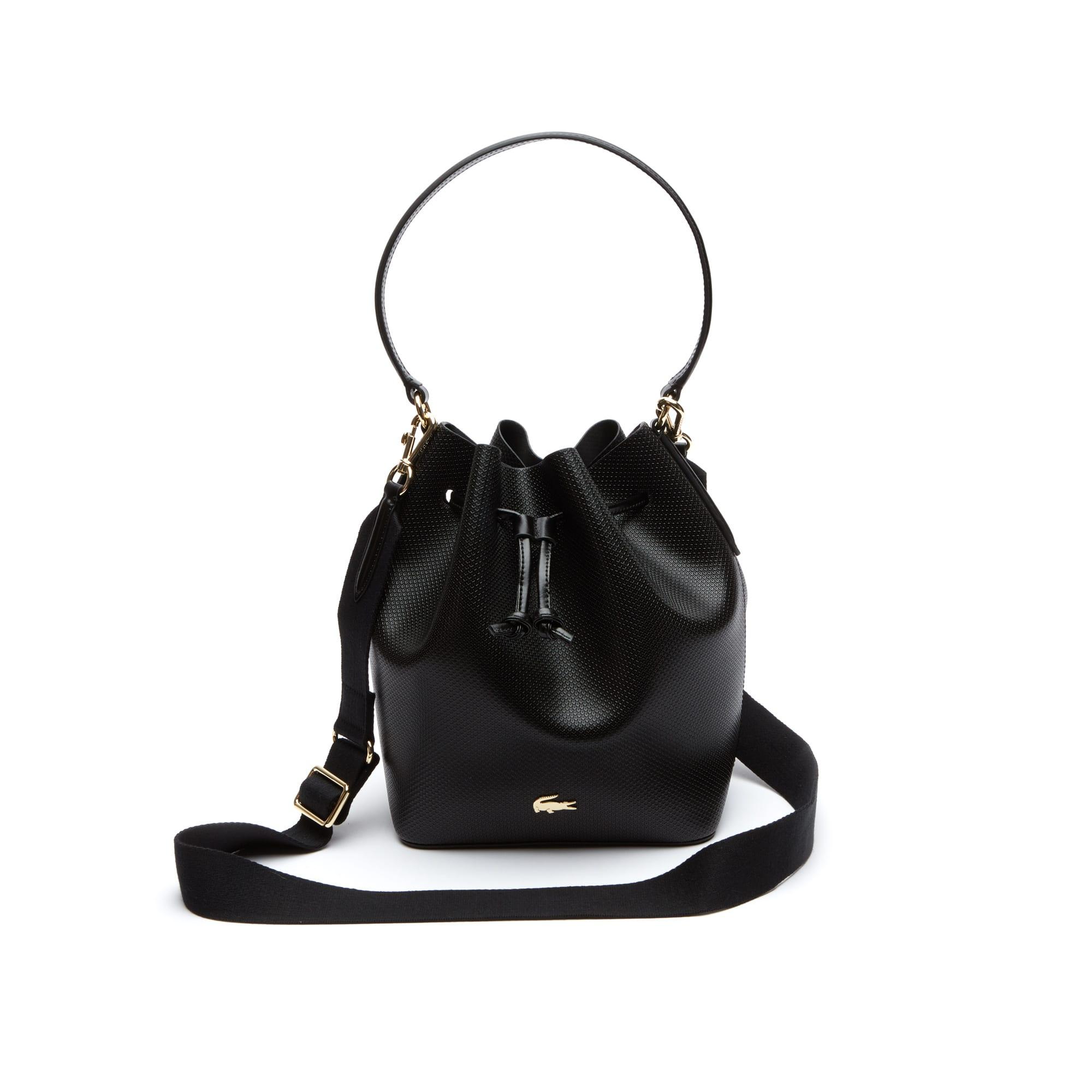 Chantaco-bucketbag dames piquéleer met twee draagmogelijkheden