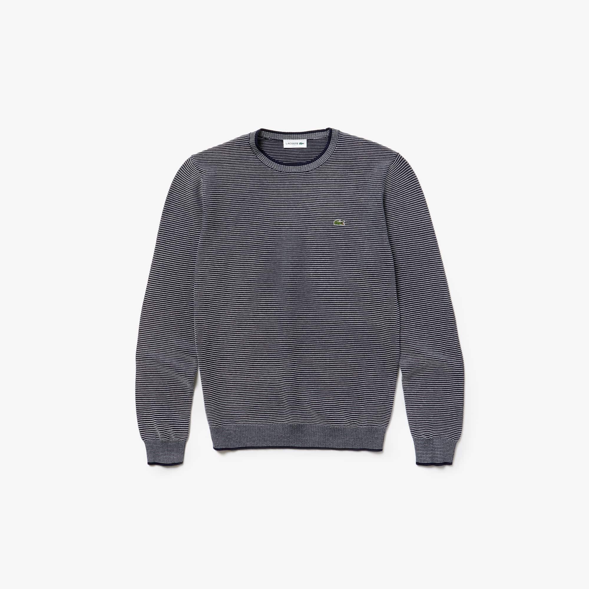 Sweater met ronde hals van katoenen ottoman met smal streeppatroon