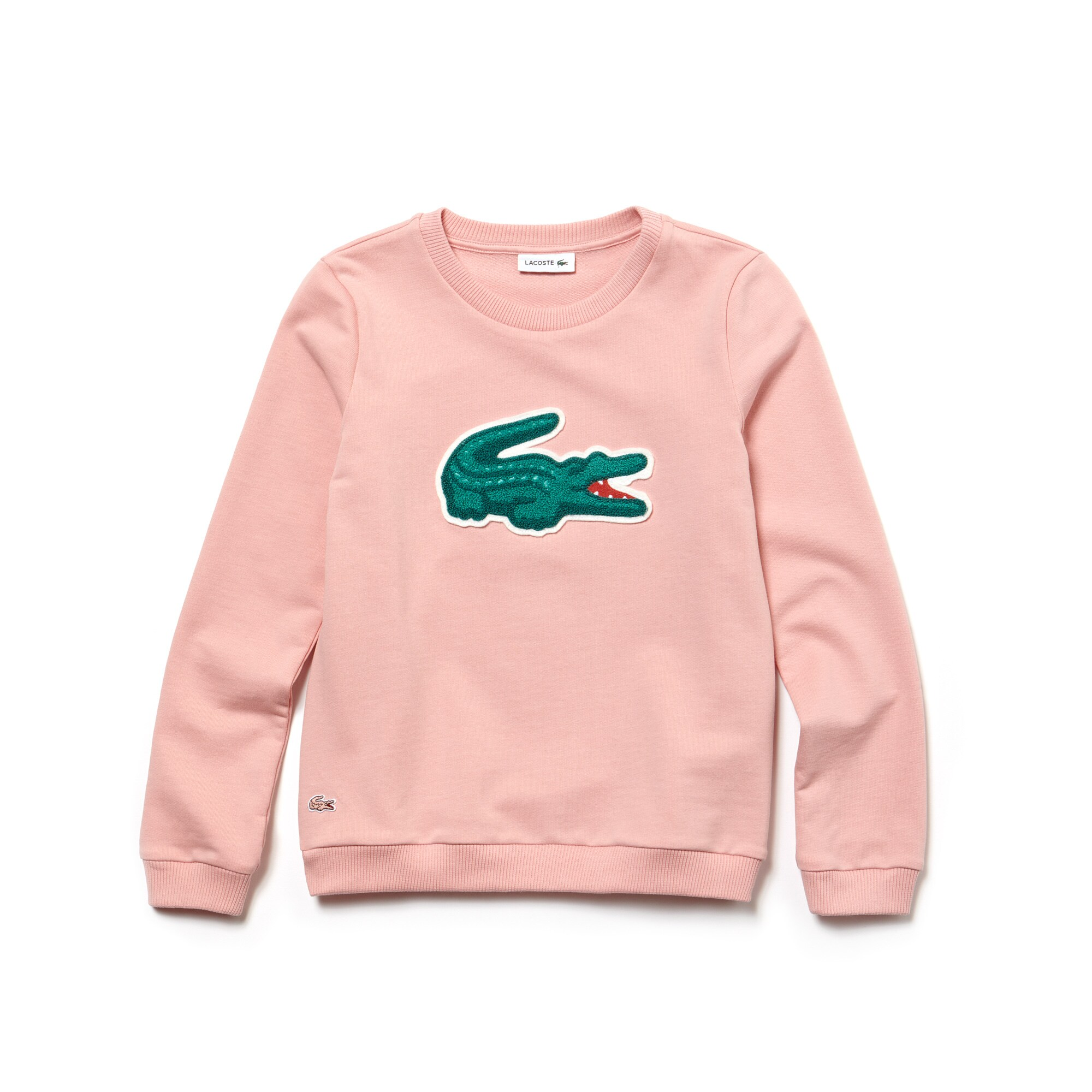 Sweatshirt meisjes stretch-fleece met oversized krokodil