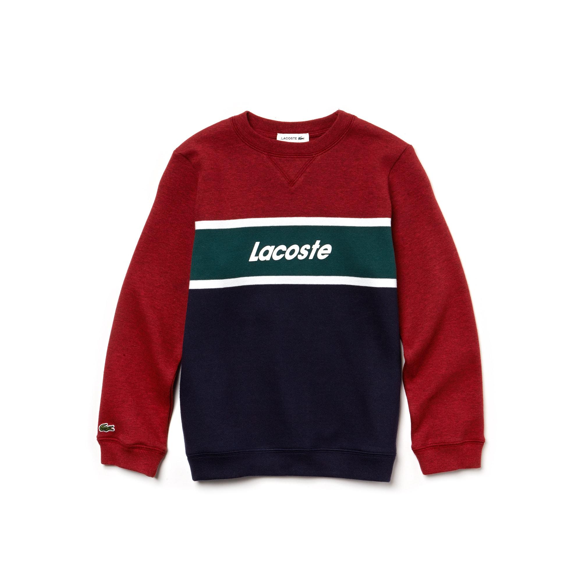 Sweater jongens ronde hals colorblock jersey met Lacoste-belettering