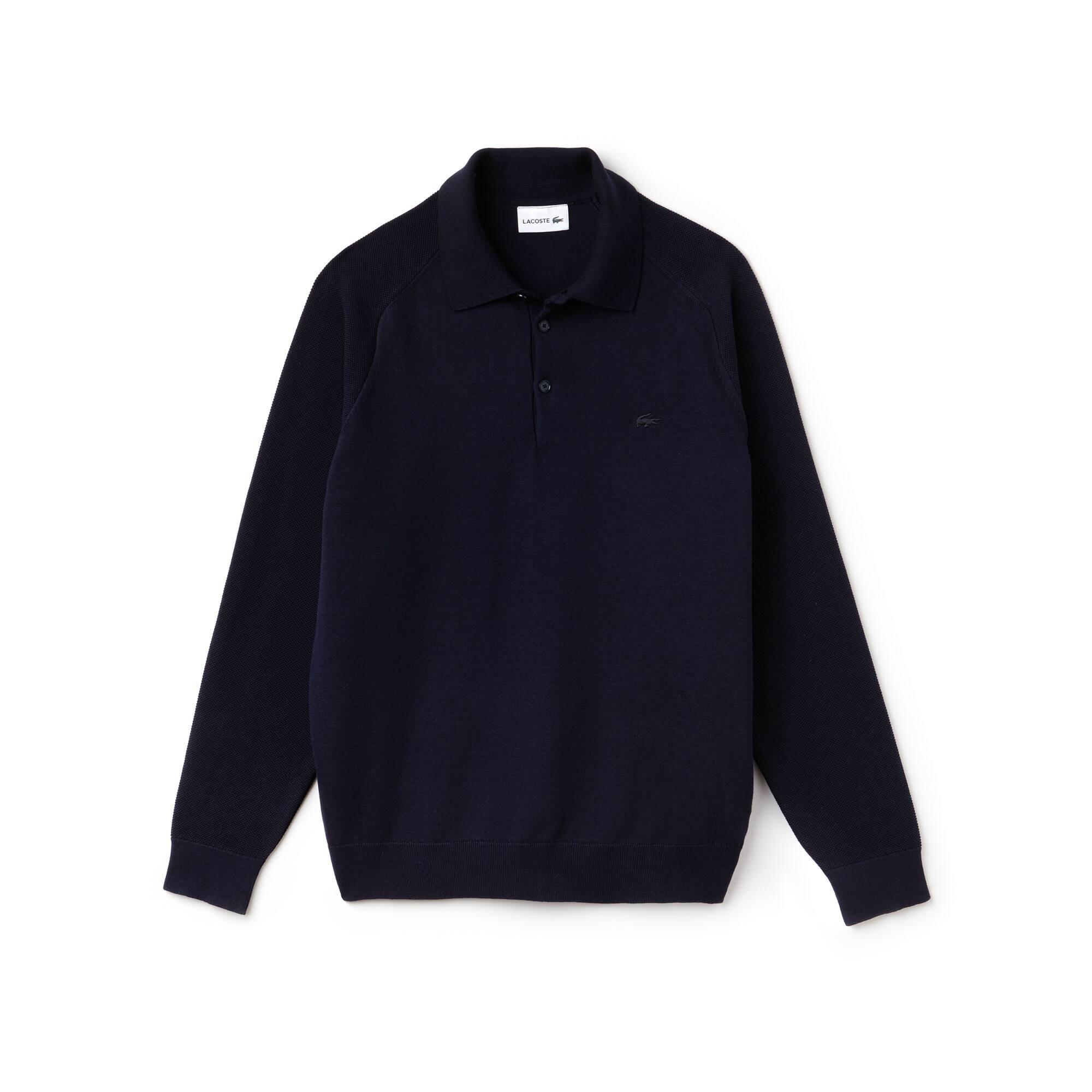 Sweater heren technisch breiwerk met polokraag en contrasterende mouwen
