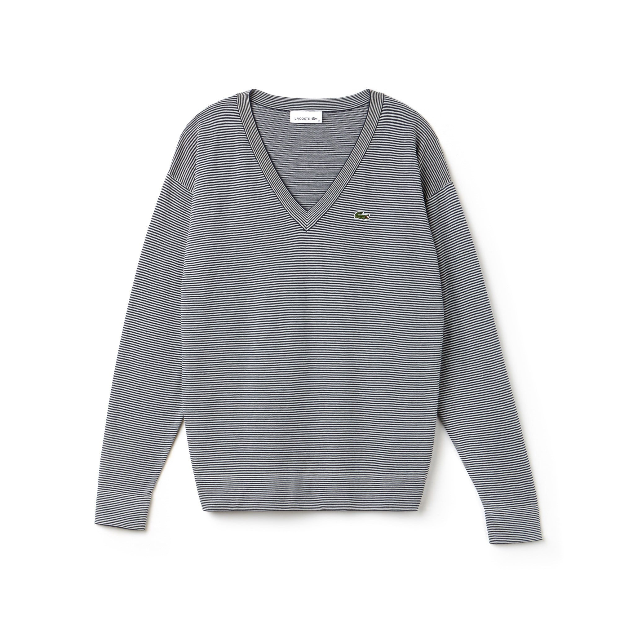 Sweater dames V-hals katoenjersey met krijtstrepen