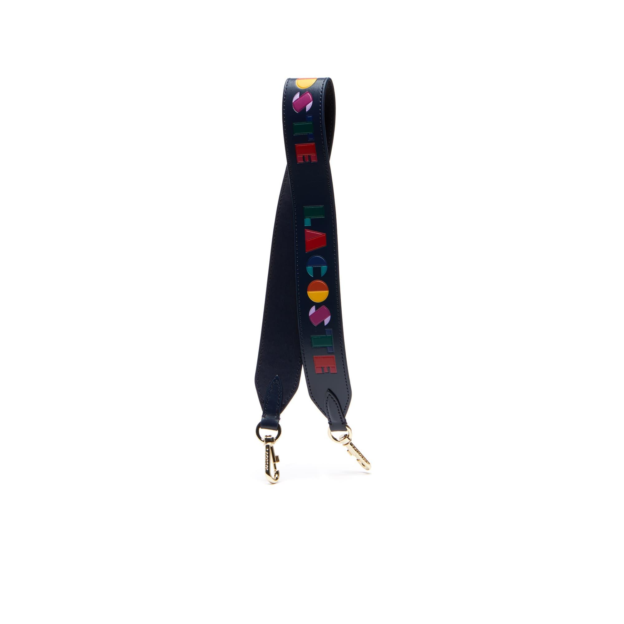 Fancy Straps-schouderband dames leer met gekleurde Lacoste-letters