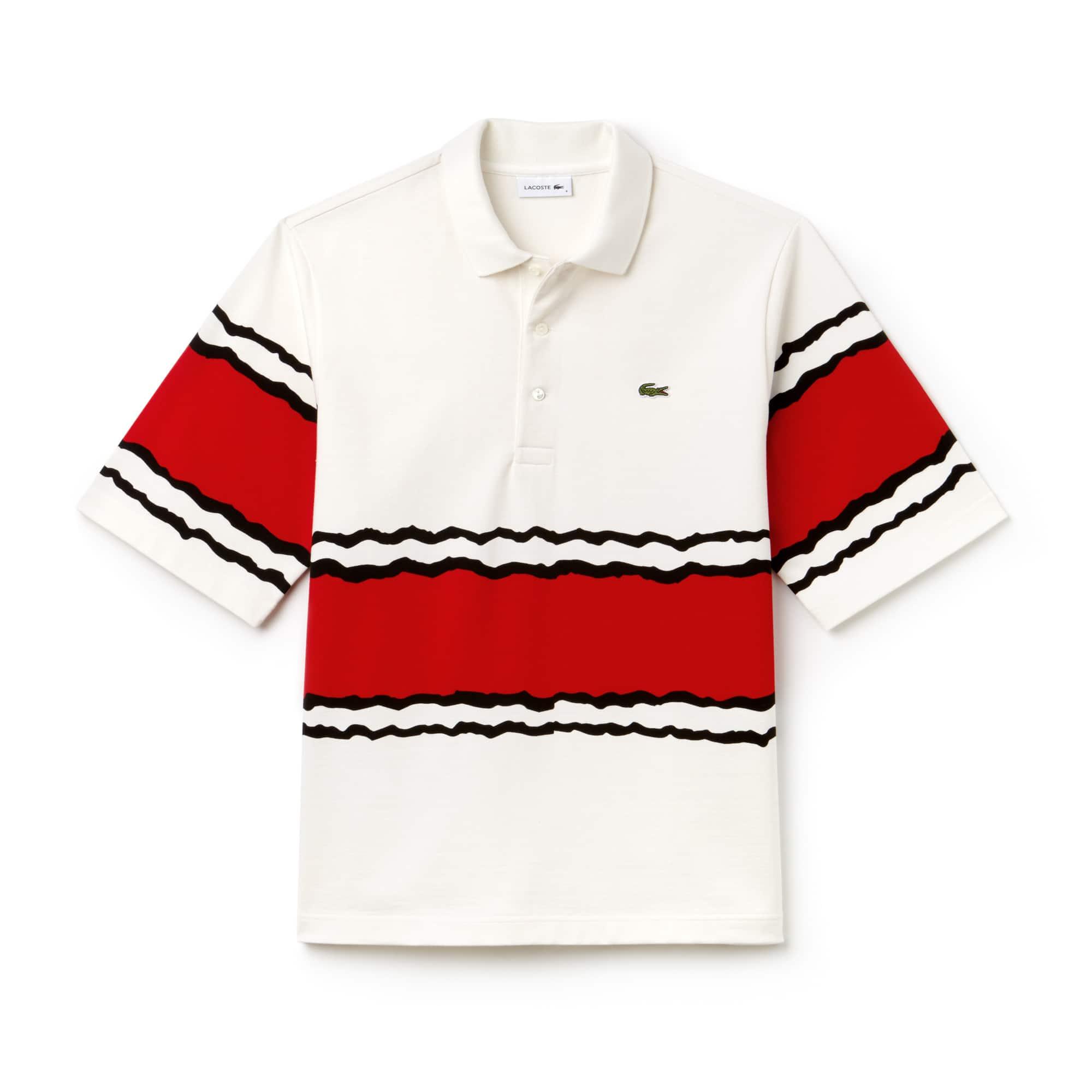 Polo Lacoste em jersey de algodão pesado às riscas Edição Desfile