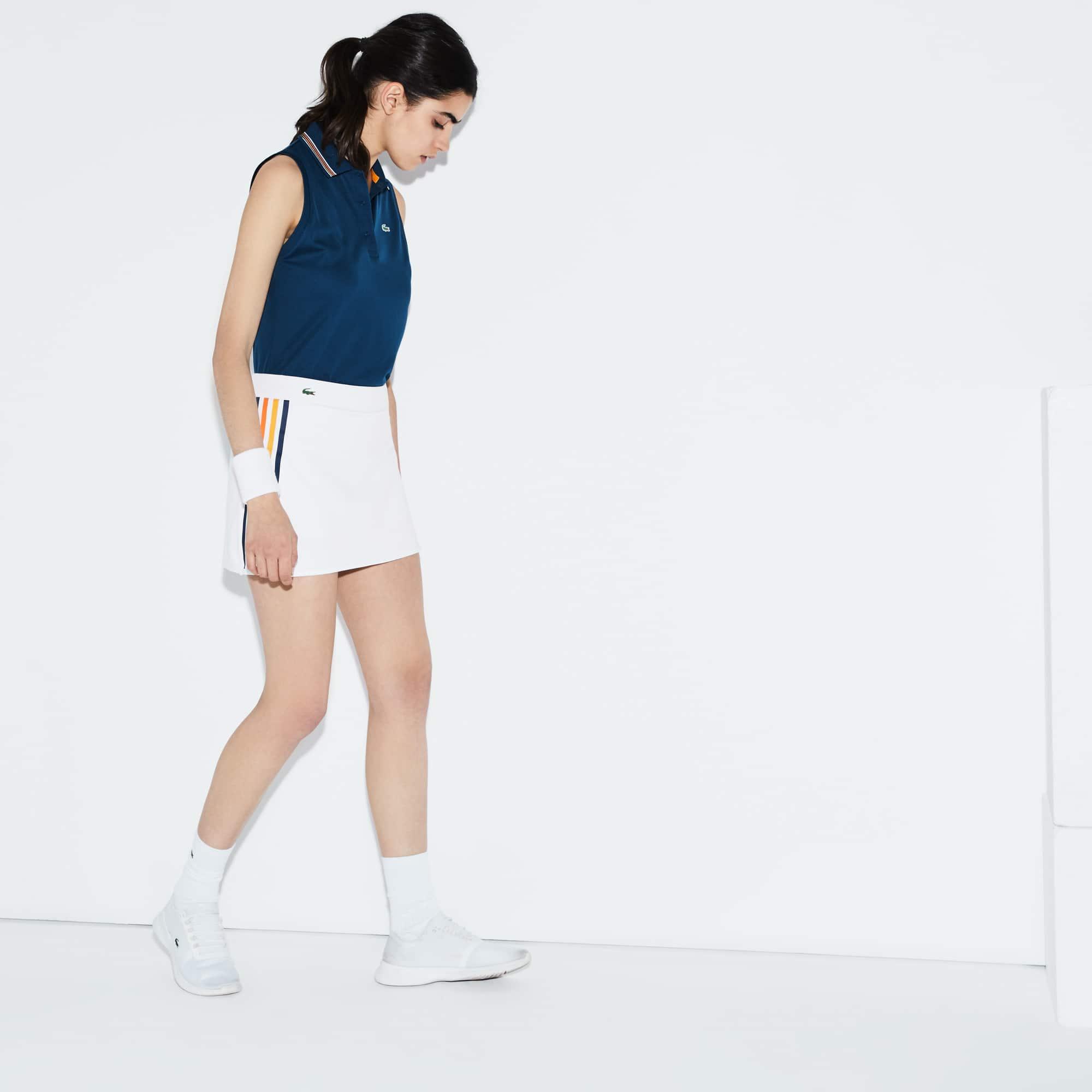 Saia Tennis Lacoste SPORT em jersey técnico com faixas a contrastar