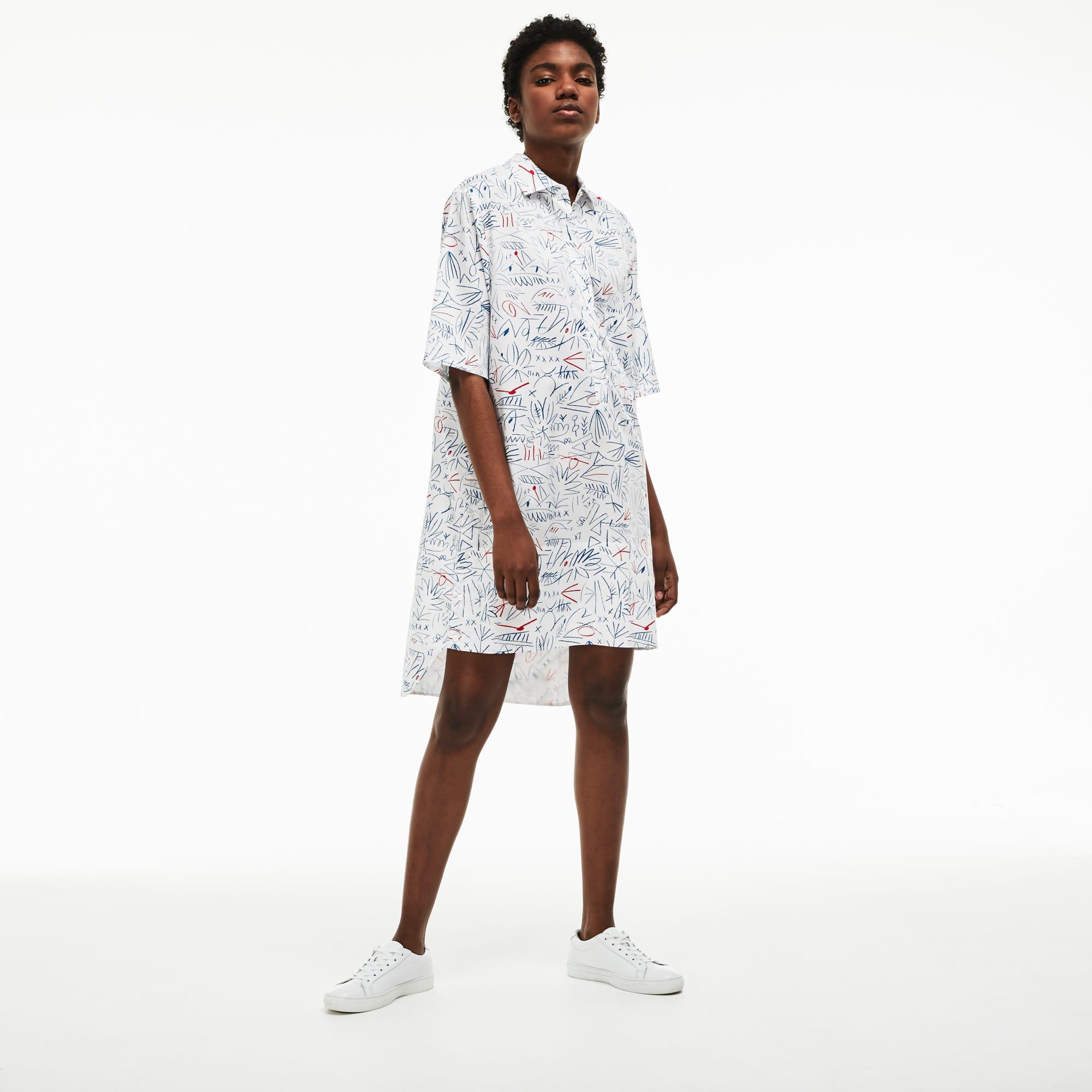 Vestido camisa em twill de algodão com impressão