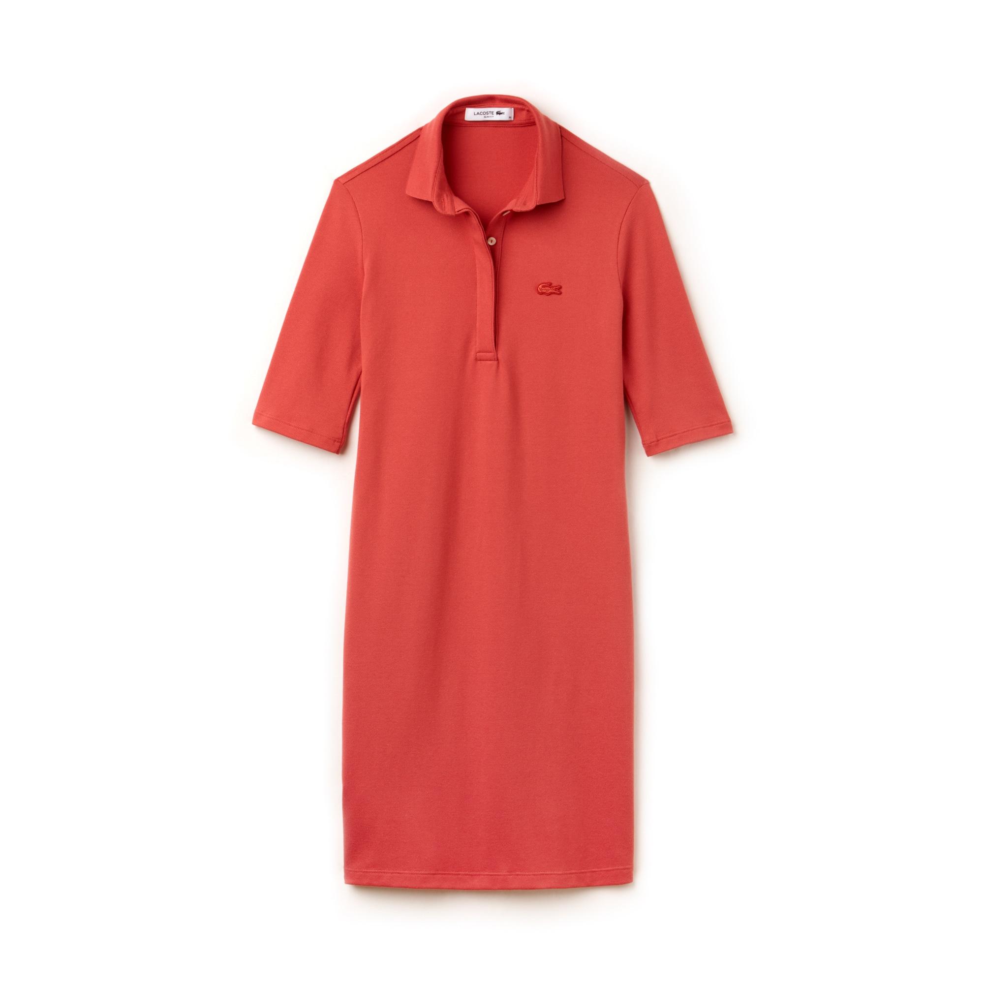 Vestido polo slim fit com manga três quartos em mini piqué stretch