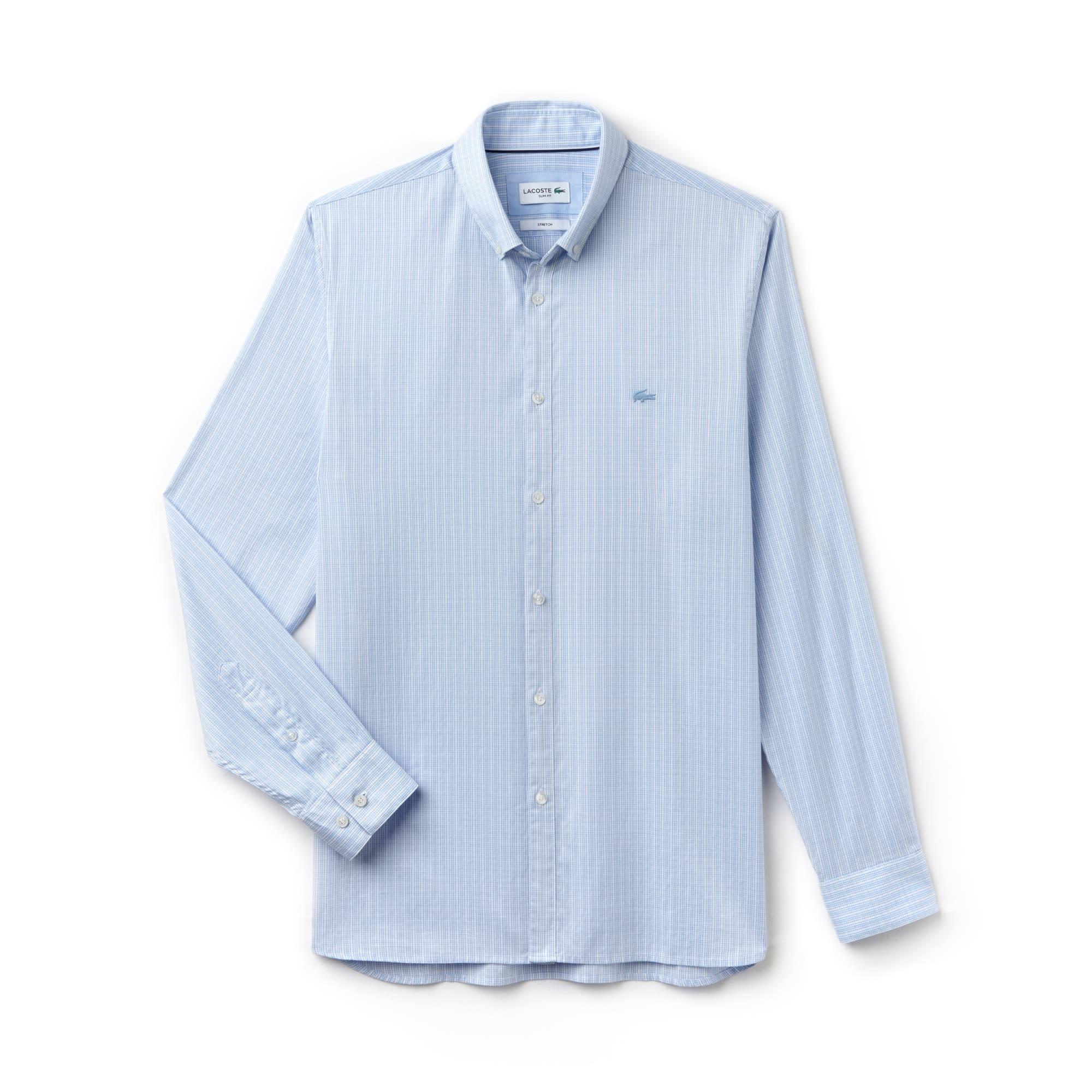 Camisa slim fit em pinpoint de algodão stretch aos quadrados
