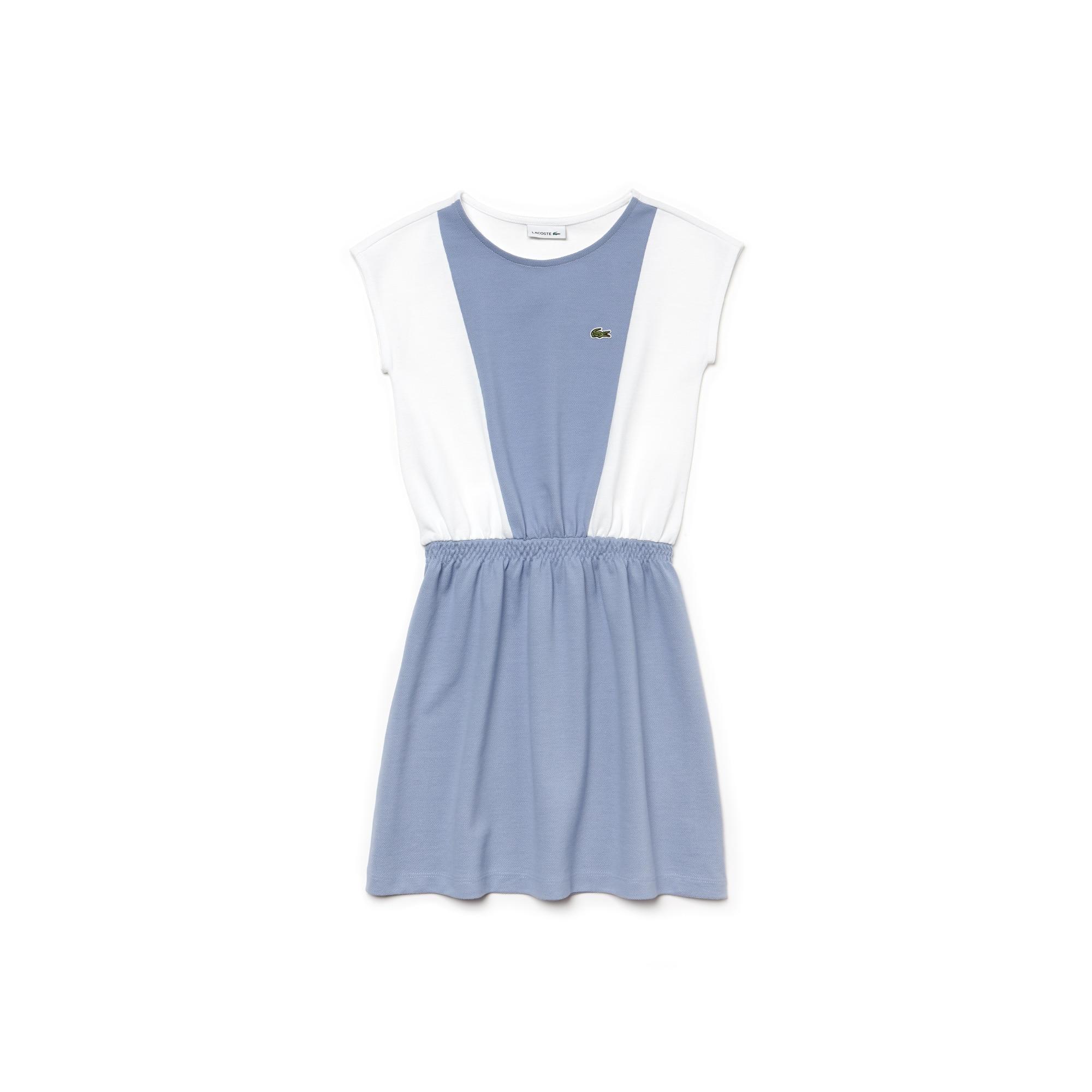 Vestido cintado Menina sem mangas em petit piqué color block