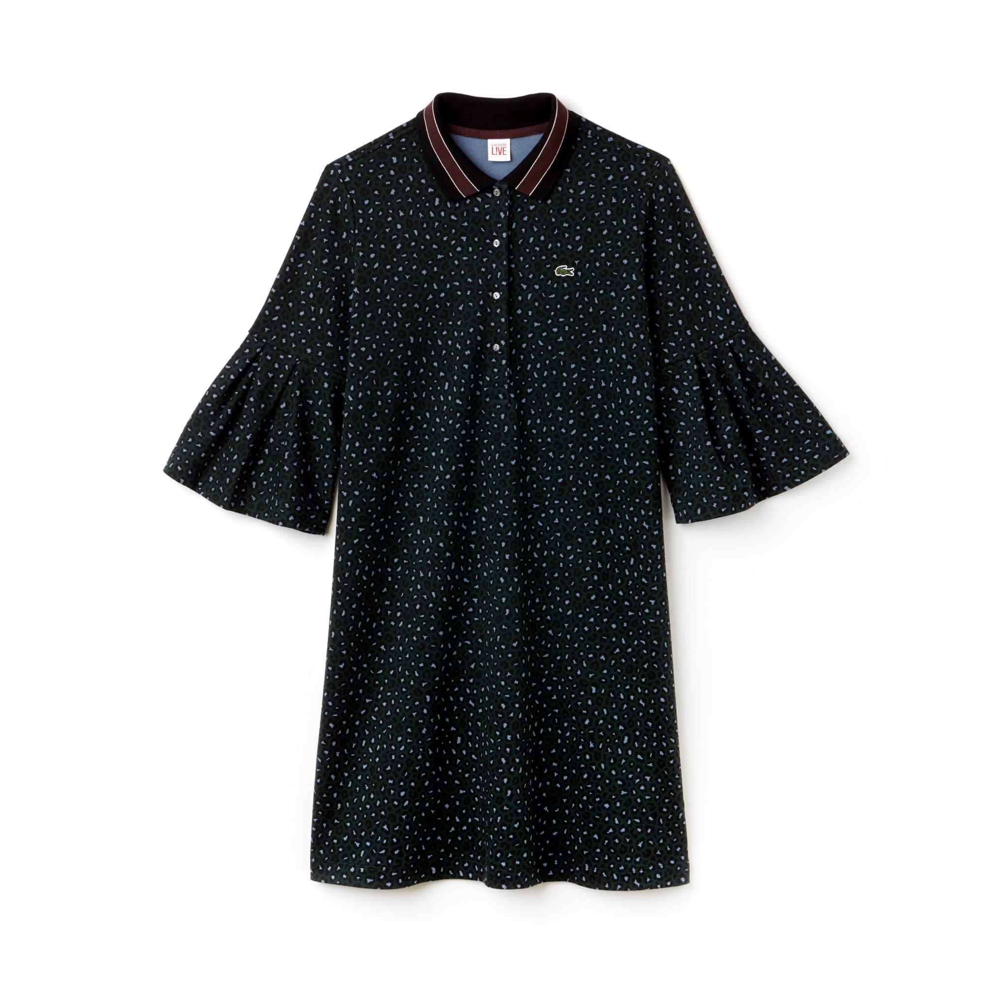 Vestido polo Lacoste LIVE em interlock com impressão leopardo
