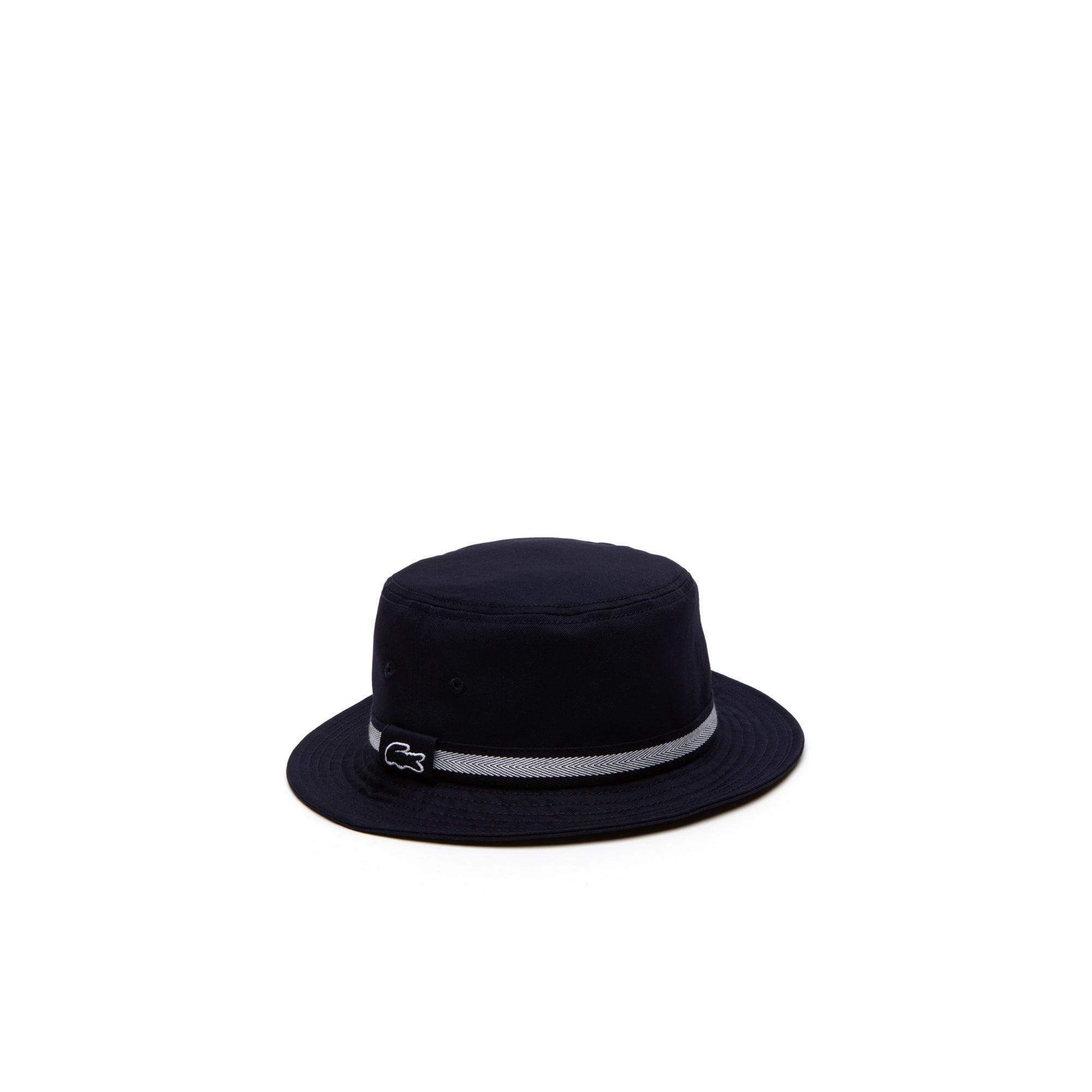 Chapéu em gabardina de algodão unicolor com fita impressa