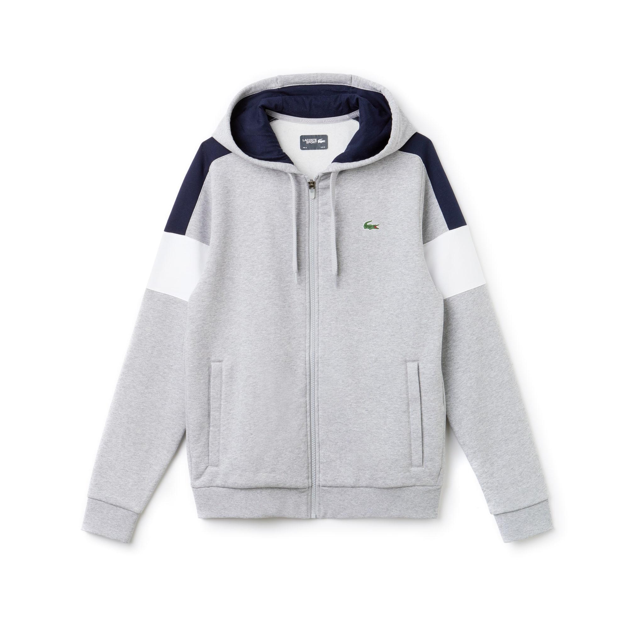 Sweatshirt com fecho de correr Tennis Lacoste SPORT em moletão color block