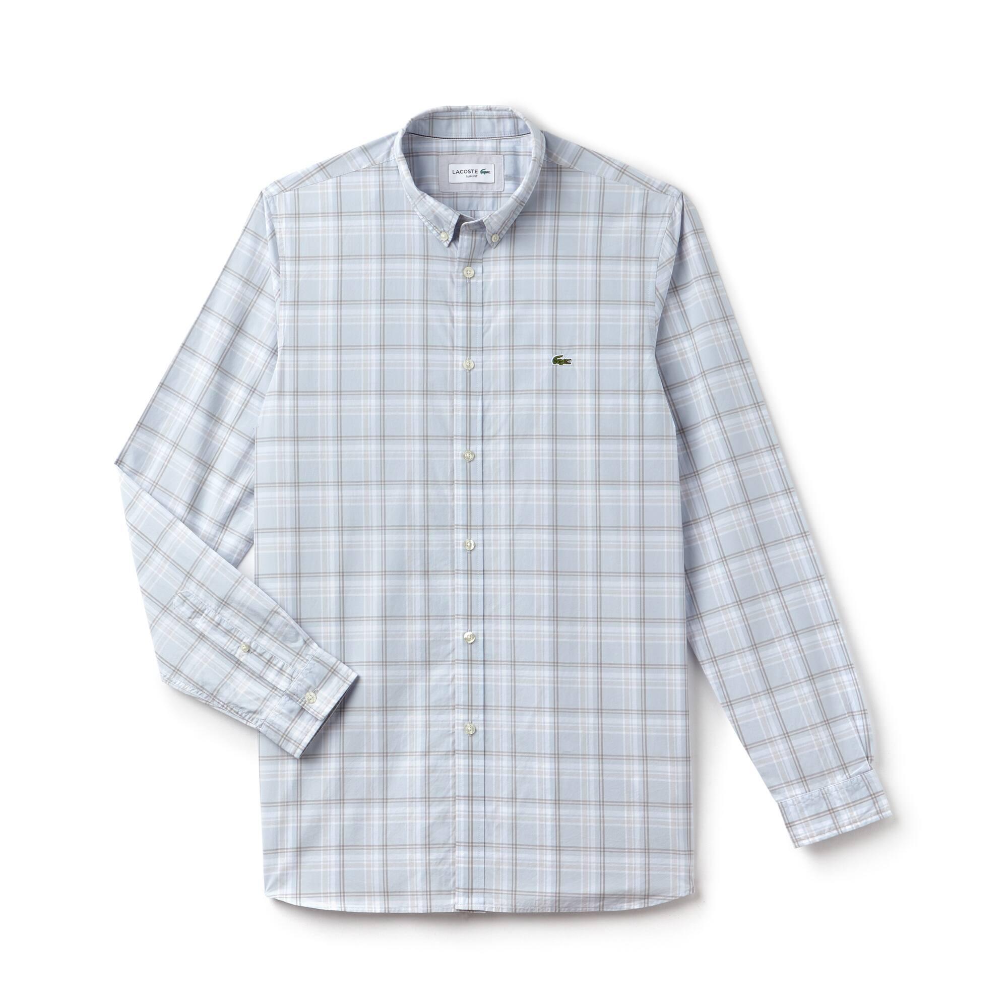 Camisa slim fit em popelina de algodão aos quadrados grandes