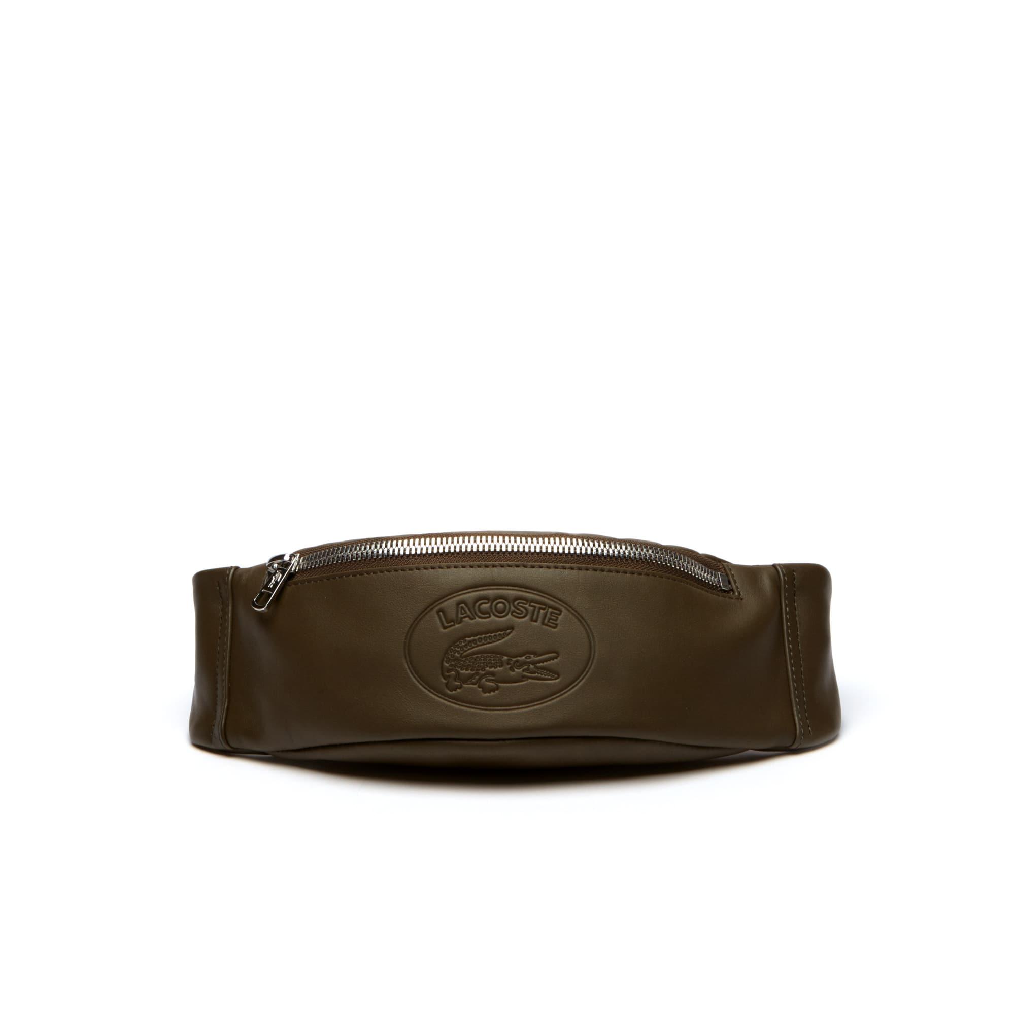 Bolsa de cintura L.12.12 em pele, com fecho e lettering em relevo