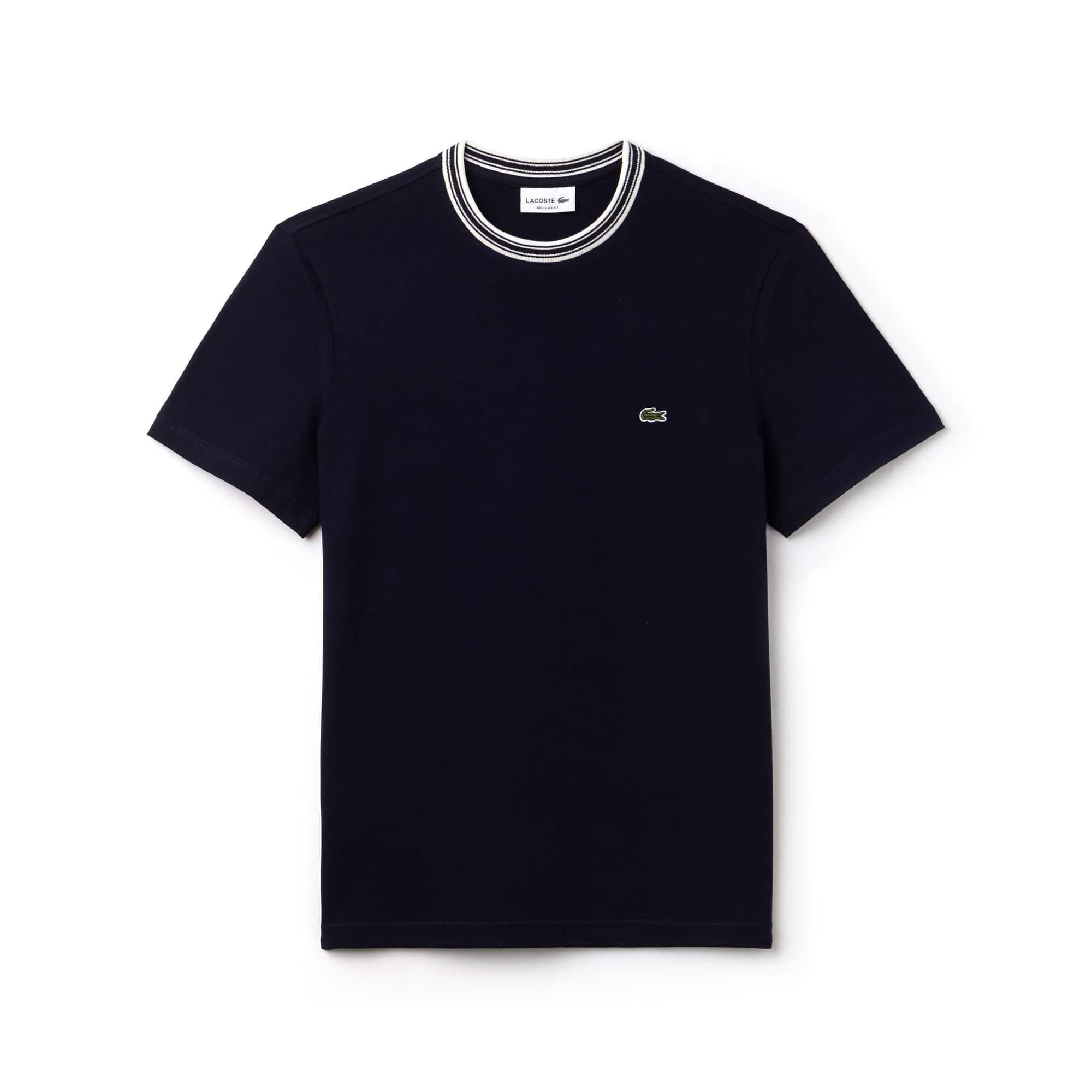 T-shirt decote redondo às riscas em jersey de algodão unicolor