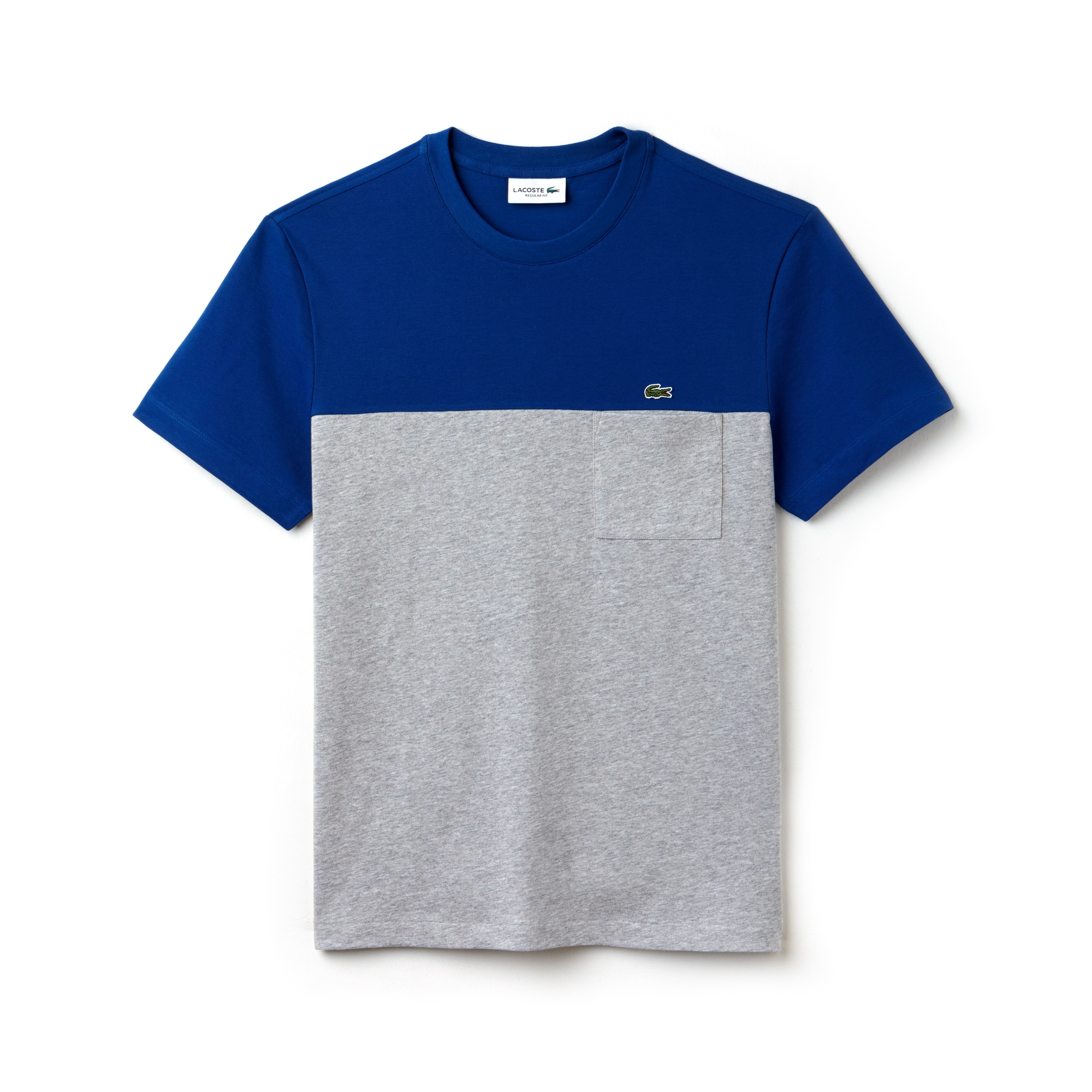 T-shirt decote redondo em mini piqué e jersey color block