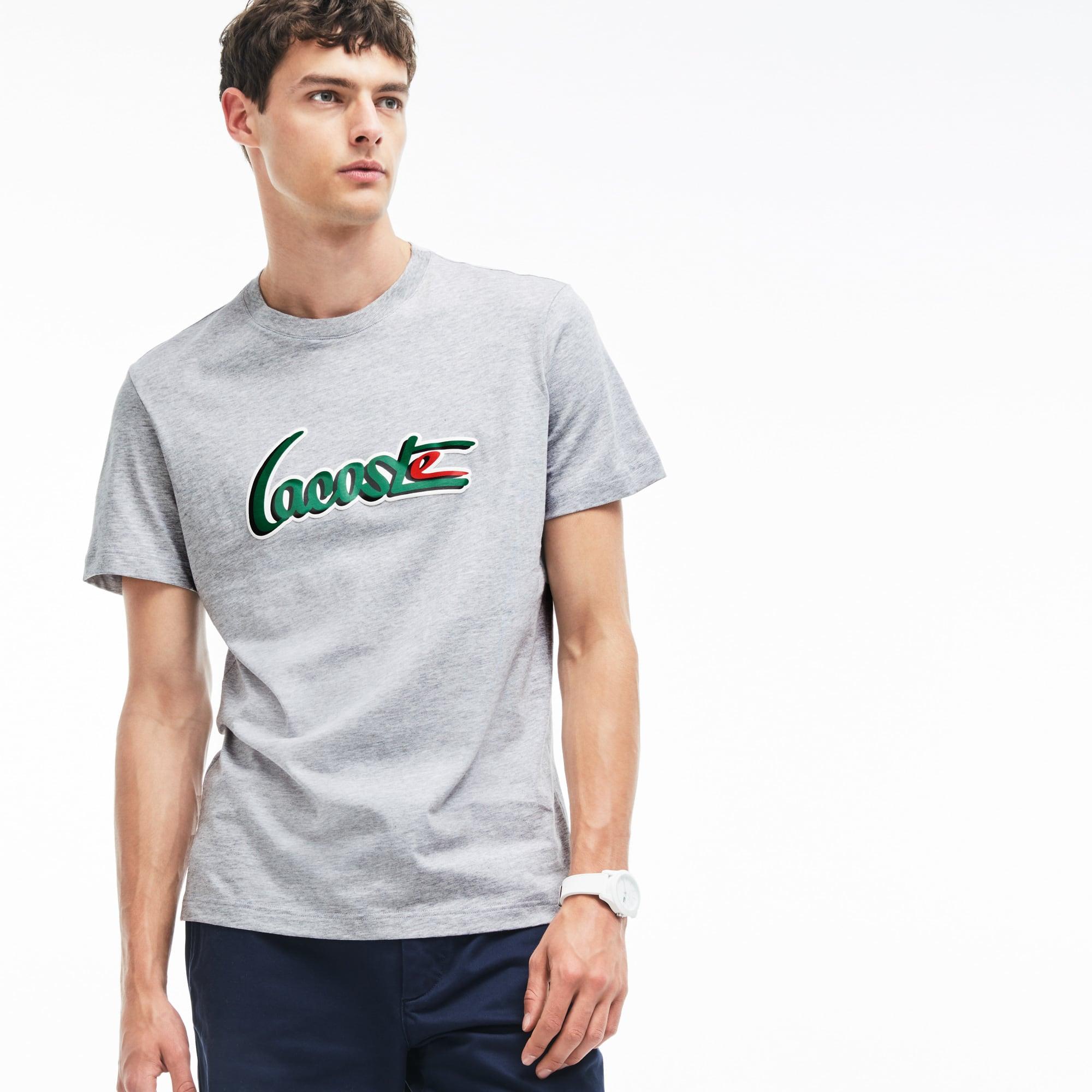 T-shirt de decote redondo em jersey com inscrição LACOSTE em relevo