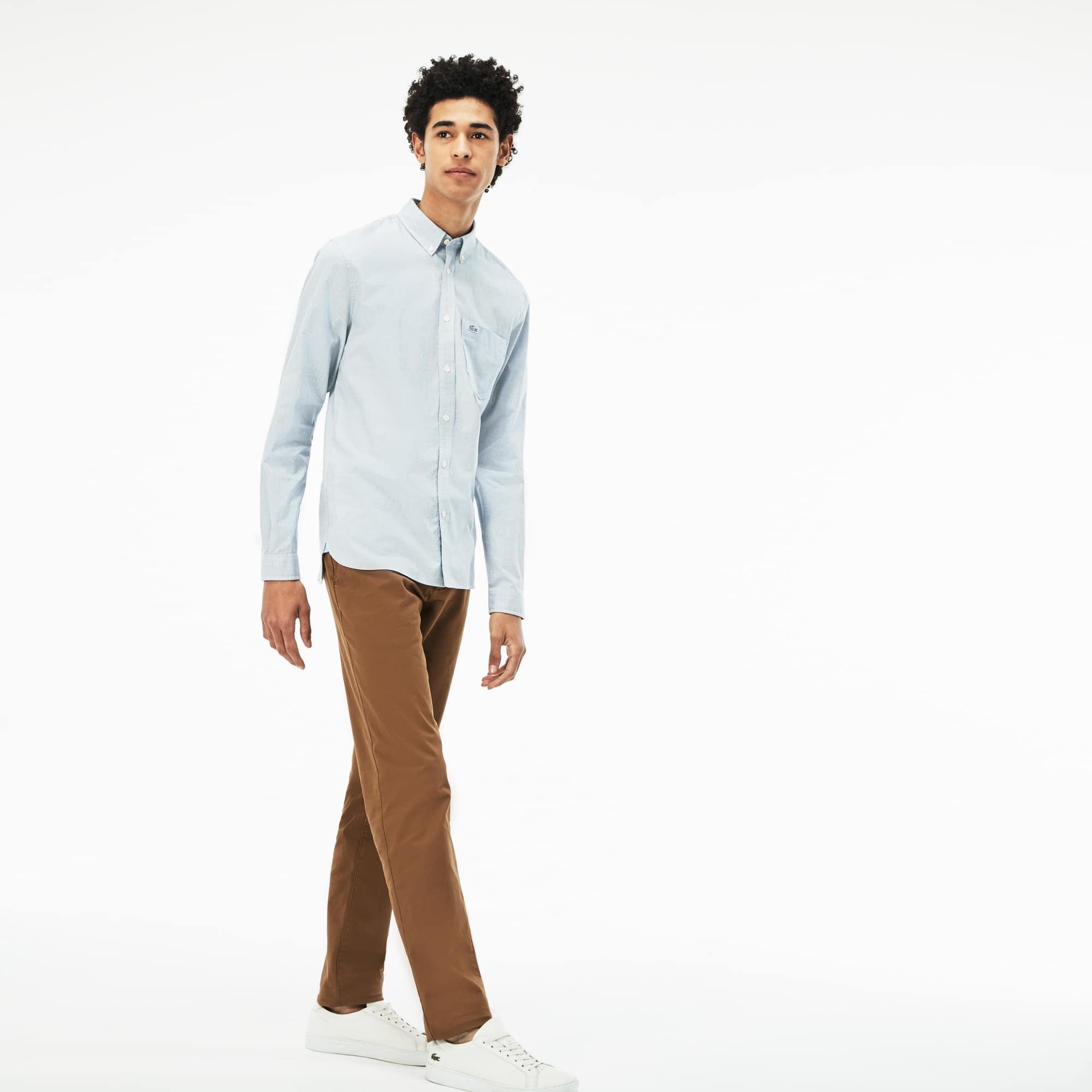 Camisa slim fit em popelina com impressão pied-de-poule