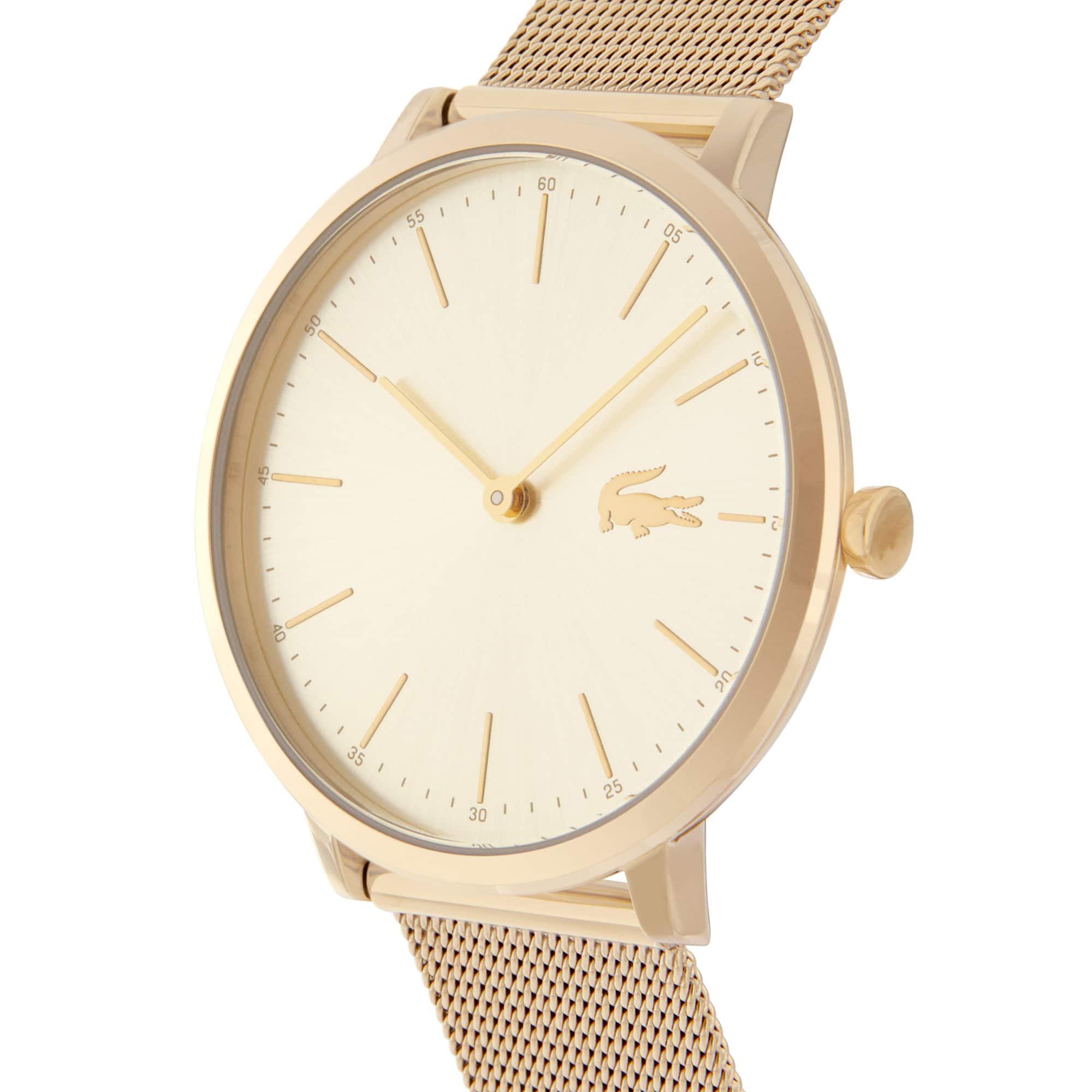 Relógio ultra slim Moon de mulher com bracelete de rede cromada em ouro amarelo