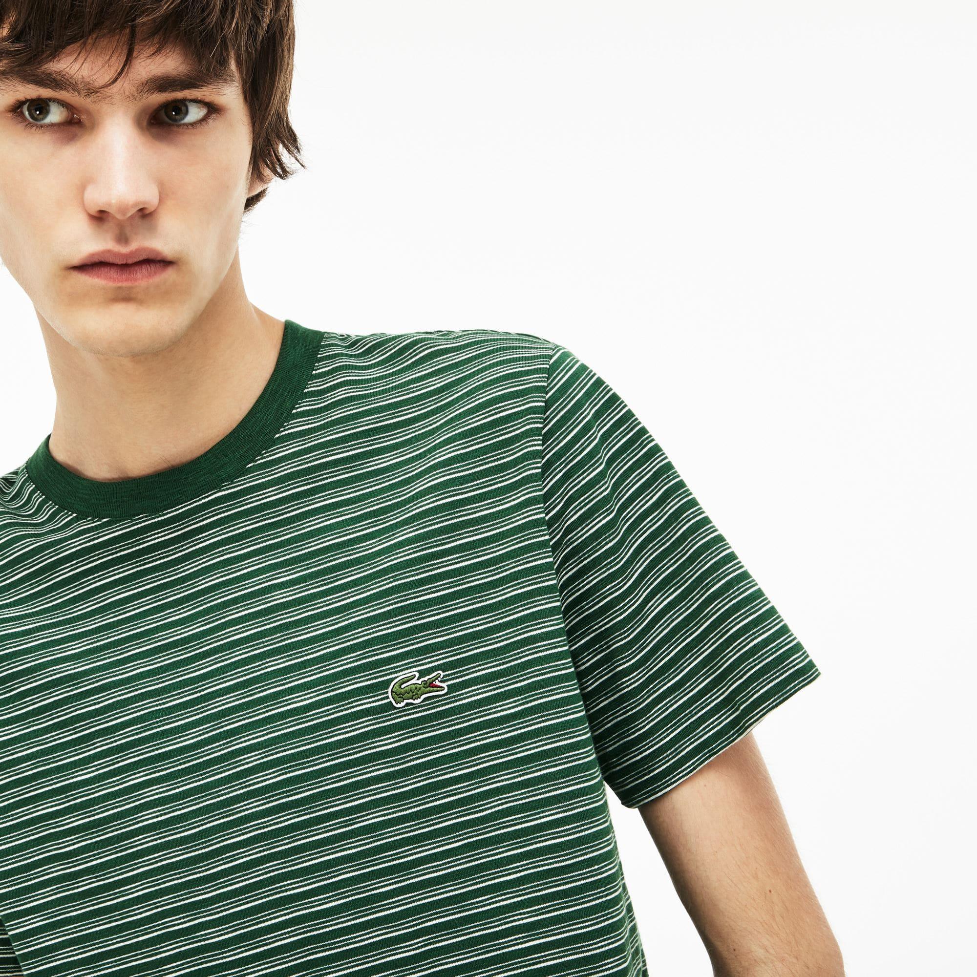 T-shirt decote redondo em jersey de algodão efeito mesclado às riscas