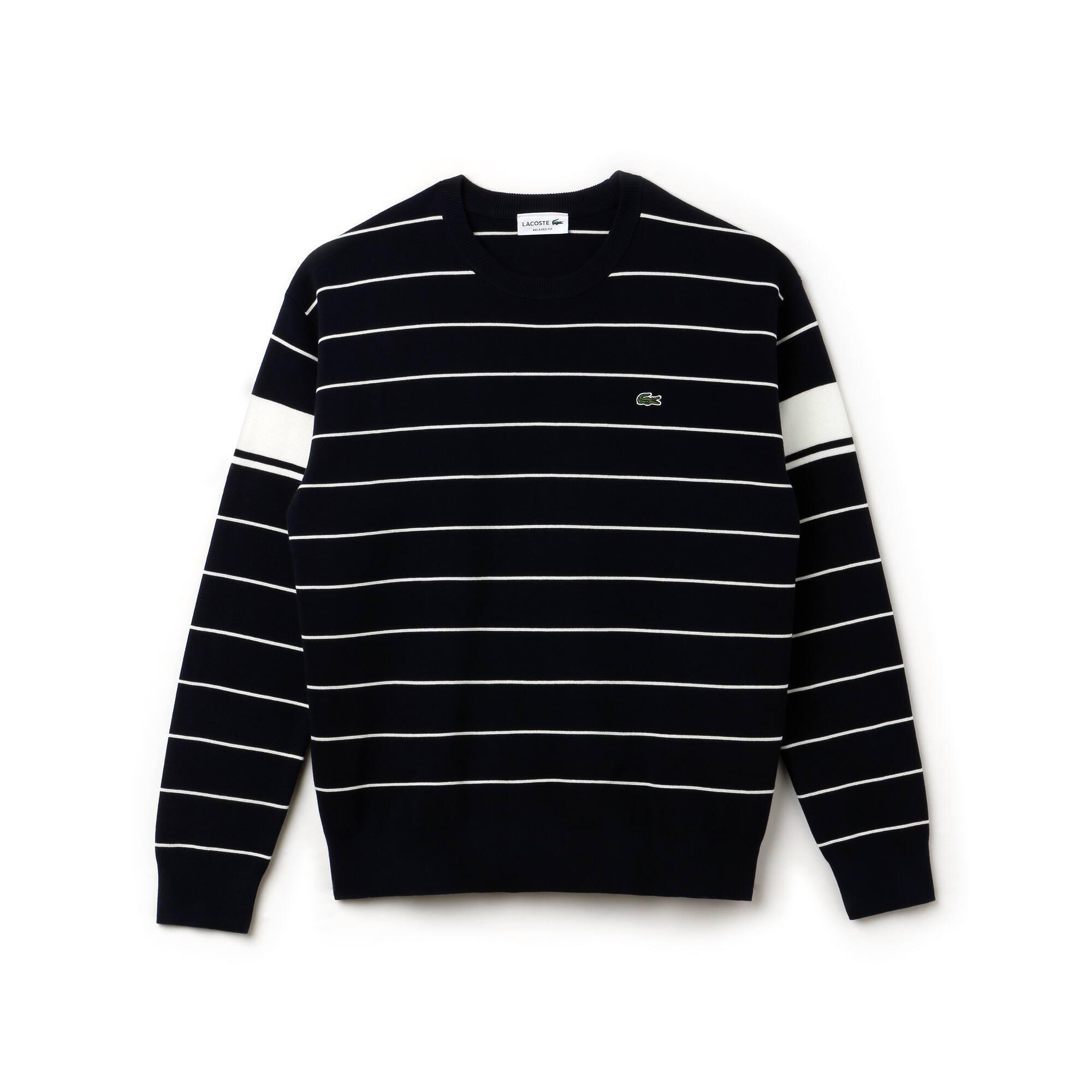 Camisola decote redondo em algodão milano às riscas com faixas a contrastar