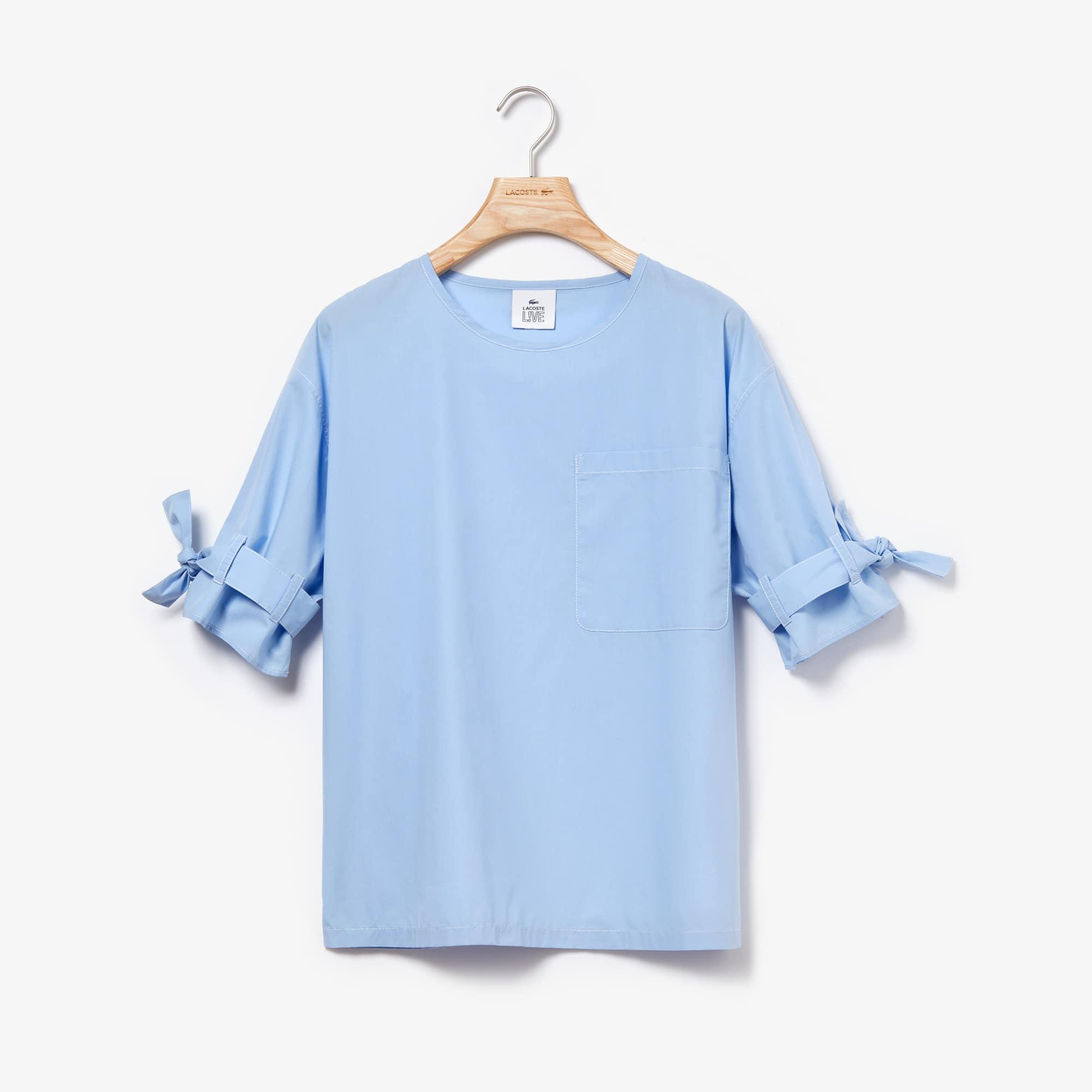 b6449f6f1 Blusa de popelina de algodão larga