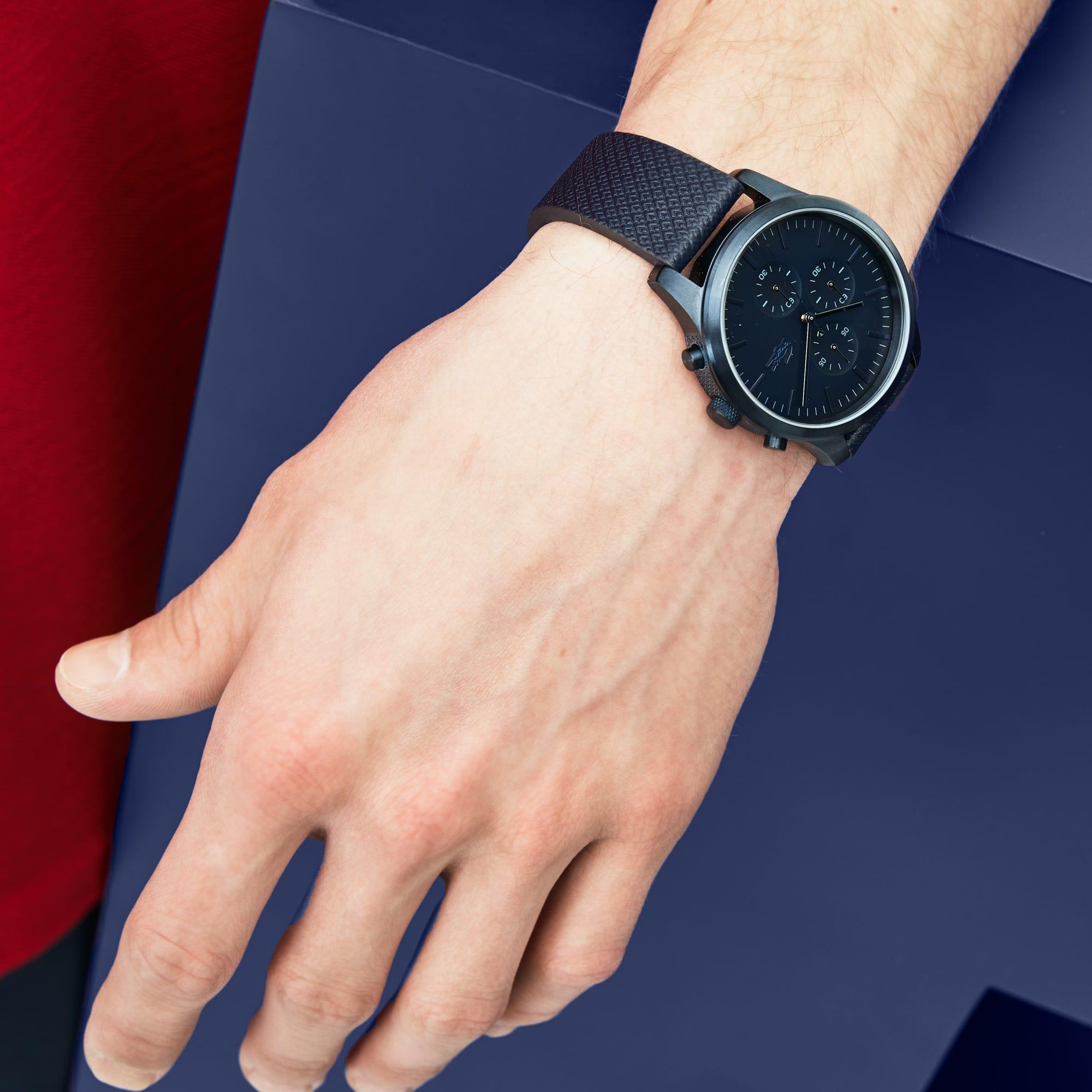 Relógio cronógrafo Lacoste 12.12, que celebra o 85º Aniversário, com bracelete em pele com gravação petit piqué azul